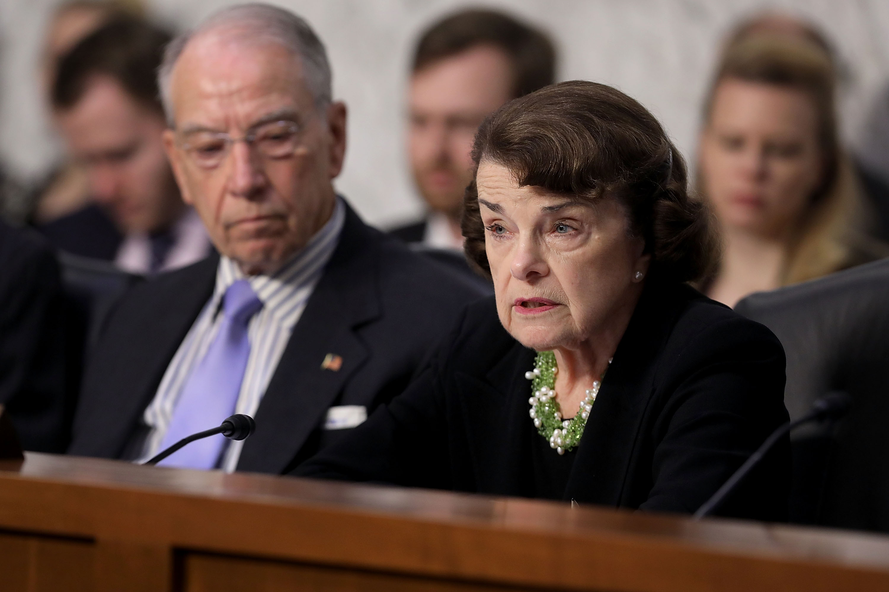 Senate Judiciary Committee ranking member Dianne Feinstein (D-CA) (R) and Chairman Charles Grassley (R-IA) engage in a debate with fellow members of the committee during the third day of Supreme Court nominee Judge Brett Kavanaugh's confirmation hearing in the Hart Senate Office Building on Capitol Hill September 6, 2018 in Washington, DC. Kavanaugh was nominated by President Donald Trump to fill the vacancy on the court left by retiring Associate Justice Anthony Kennedy.