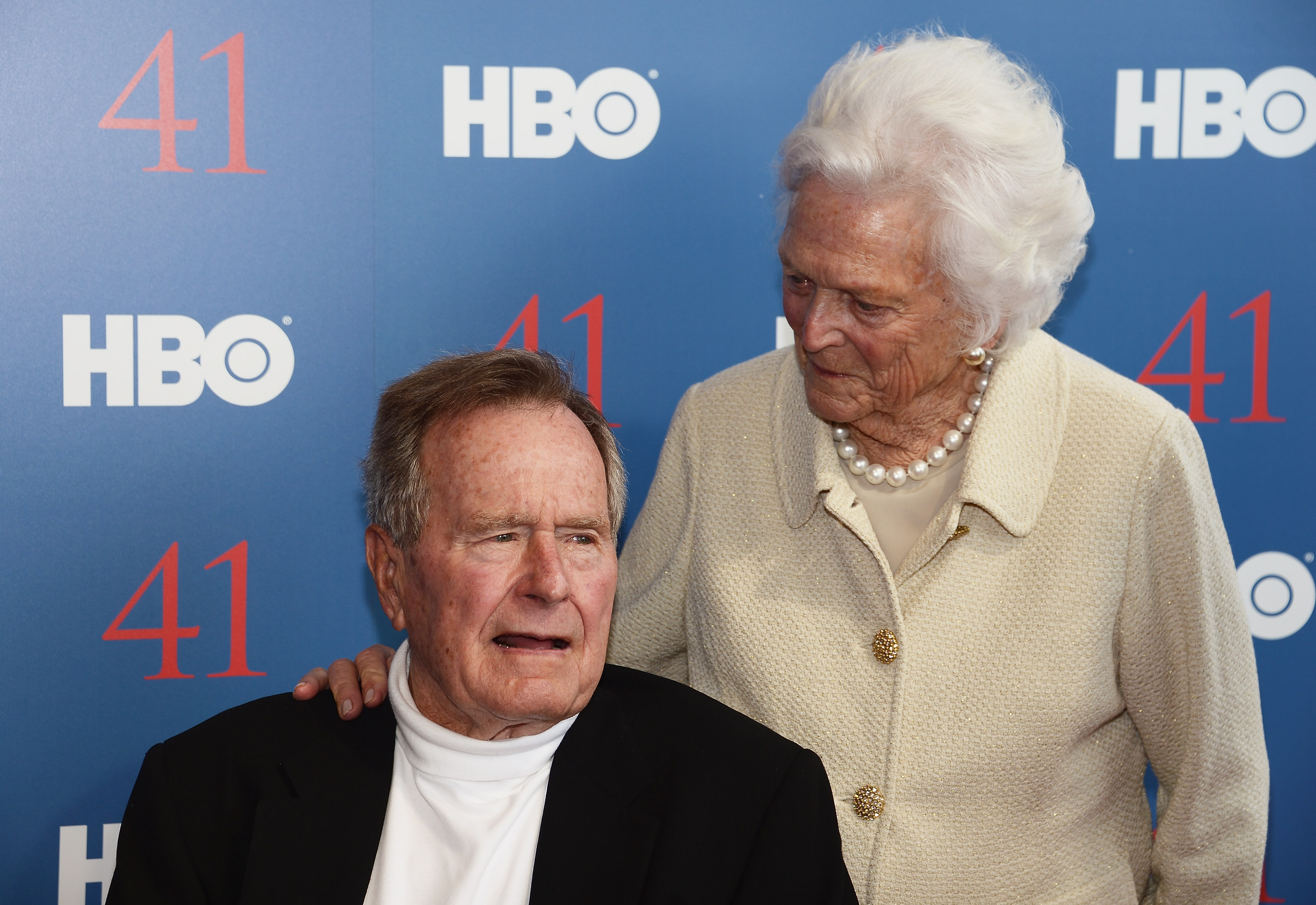 Film Subject President George H.W. Bush and his wife, Mrs. Barbara Bush attend the HBO Documentary special screening of '41' on June 12, 2012 in Kennebunkport, Maine.