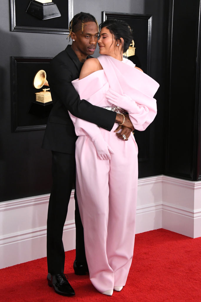 Travis Scott and Kylie Jenner attend the 61st Annual GRAMMY Awards at Staples Center on February 10, 2019 in Los Angeles, California. (Photo by Jon Kopaloff/Getty Images)