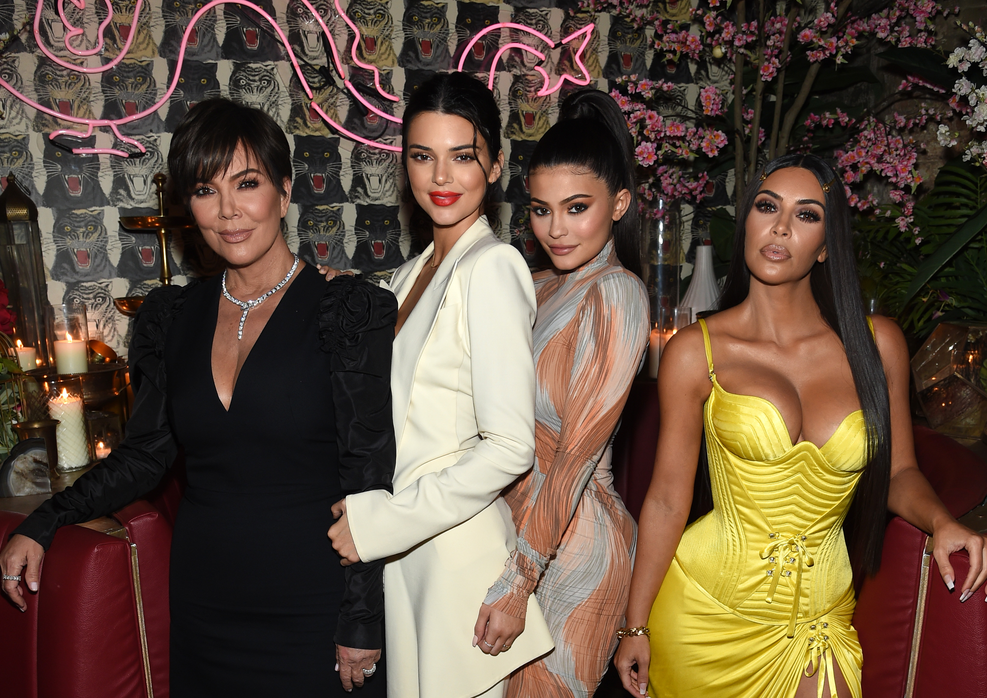(L-R) Talent Manager, Jenner Communications, Kris Jenner, Model Kendall Jenner, Founder, Kylie Cosmetics Kylie Jenner, Founder, The Business of Fashion Imran Amed and Founder and CEO, KKW Kim Kardashian attends an intimate dinner hosted by The Business of Fashion to celebrate its latest special print edition 'The Age of Influence' at Peachy's/Chinese Tuxedo on May 8, 2018 in New York City.