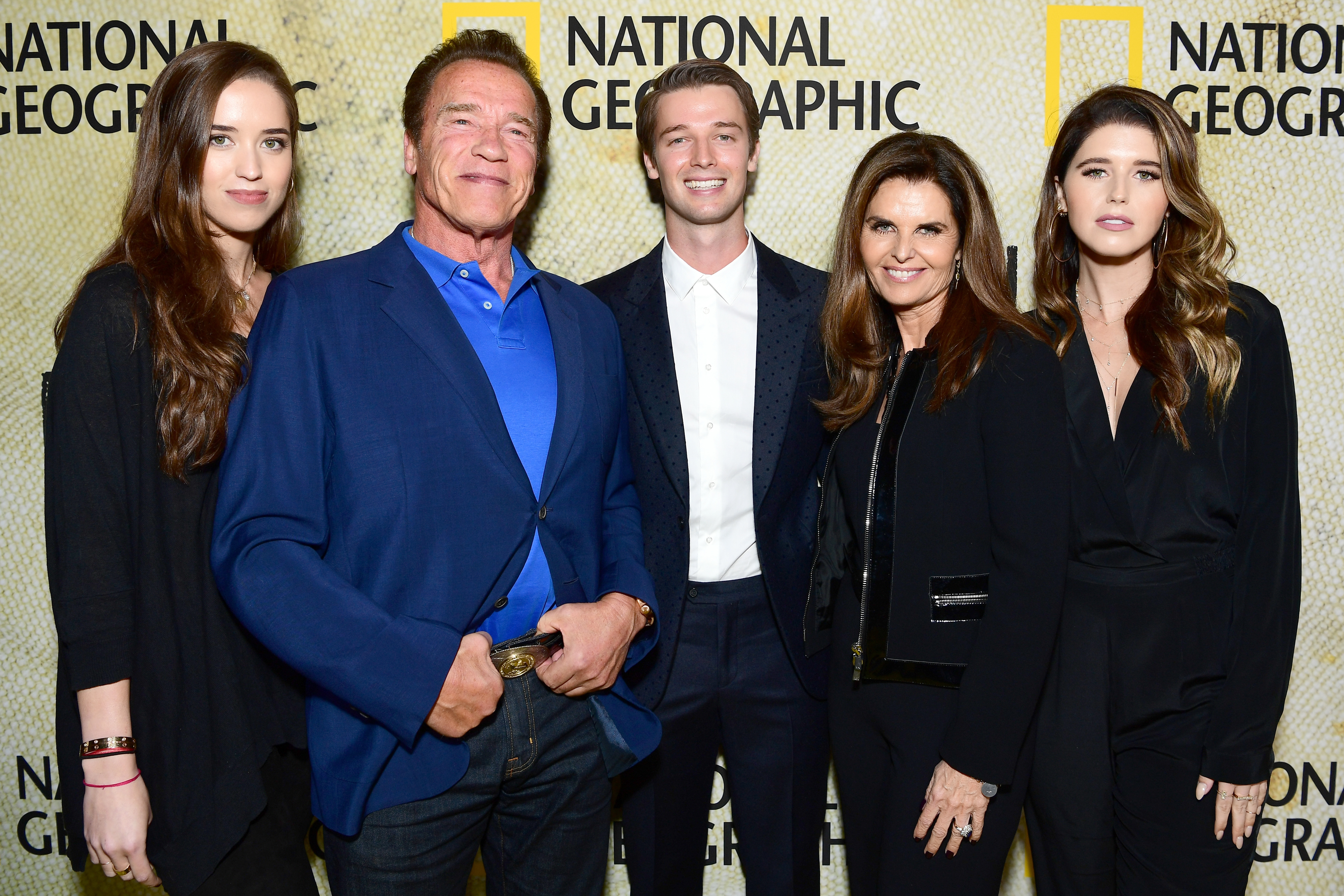 (L-R) Christina Schwarzenegger, Arnold Schwarzenegger, Patrick Schwarzenegger, Maria Shriver and Katherine Schwarzenegger attend the premiere of National Geographic's 'The Long Road Home' at Royce Hall on October 30, 2017 in Los Angeles, California.
