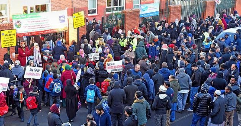 Protest outside Parkfield Community School (Facebook)