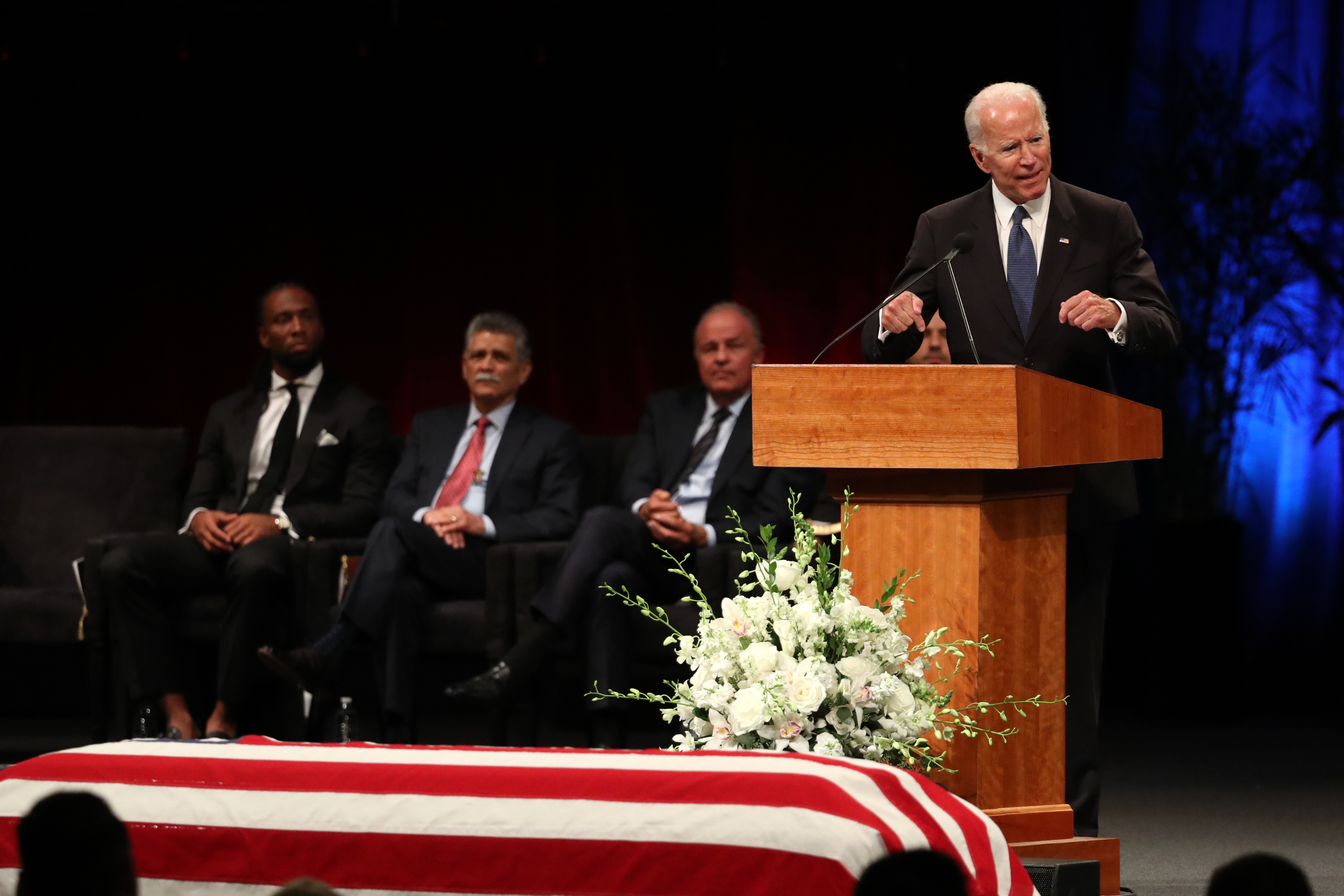 Former U.S. Vice President Joe Biden speaks during a memorial service to celebrate the life of of U.S. Sen. John McCain at the North Phoenix Baptist Church on August 30, 2018 in Phoenix, Arizona. Thousands are expected for the memorial which will include tributes and readings for the late senator who died August 25 at the age of 81 after a long battle with Glioblastoma, a form of brain cancer.