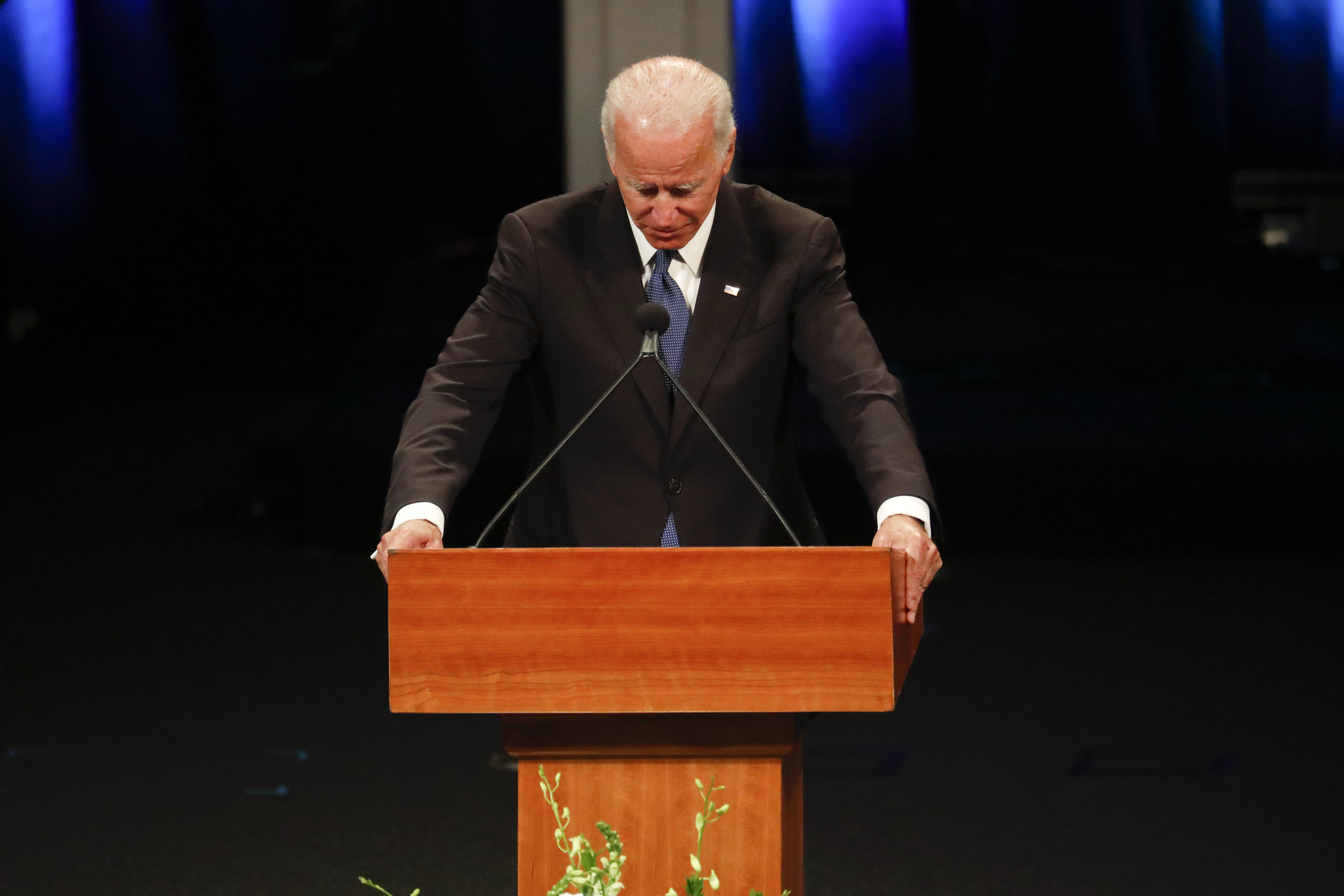 Former U.S. Vice President Joe Biden gives a tribute during memorial service at North Phoenix Baptist Church for Sen. John McCain, R-Ariz. on August 30, 2018 in Phoenix, Arizona. Thousands are expected for the memorial which will include tributes and readings for the late senator who died August 25 at the age of 81 after a long battle with Glioblastoma, a form of brain cancer.