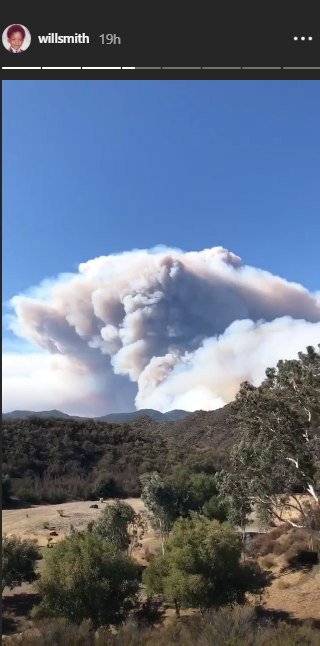 Will Smith posted a video showing the wildfire.