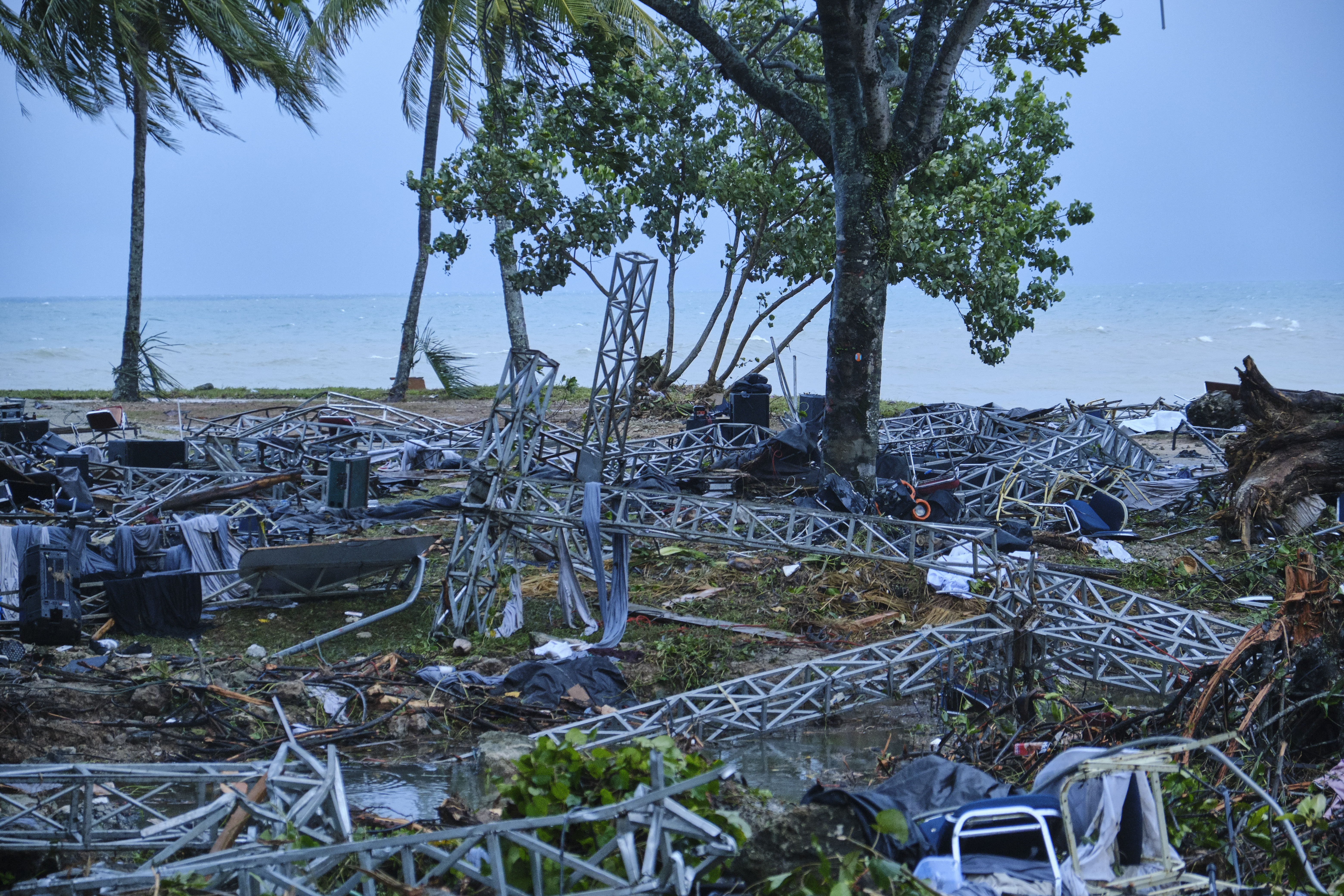 Twisted steel girders are all that's left of a music stage after a tsunami at a resort hotel on December 23, 2018, in Tanjung Lesung, Indonesia. Over 220 people have reportedly been killed after a volcano-triggered tsunami hit the coast around Indonesia's Sunda Strait on Saturday night, injuring over 600 people. (Getty Images)
