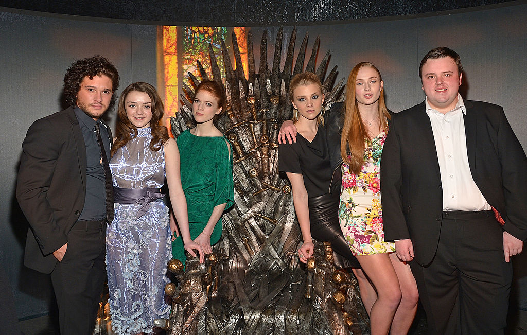 Actors Kit Harington, Maisie Williams, Rose Leslie, Natalie Dormer, Sophie Turner, and John Bradley attend 'Game Of Thrones' The Exhibition New York Opening at 3 West 57th Avenue on March 27, 2013 in New York City. (Photo by Mike Coppola/Getty Images)