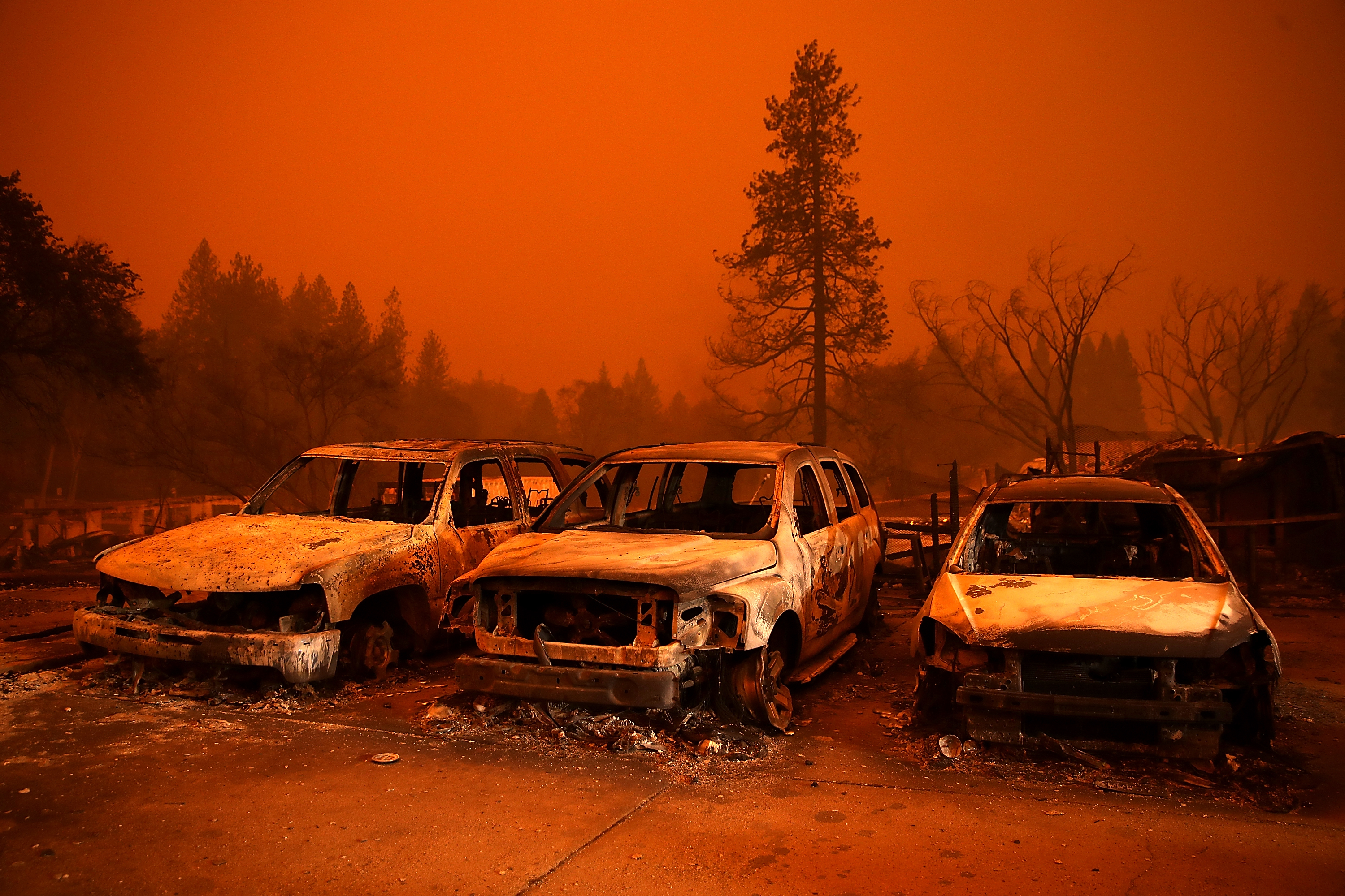 Cars destroyed by the Camp Fire sit in the lot at a used car dealership on November 9, 2018, in Paradise, California. Fueled by high winds and low humidity, the rapidly spreading Camp Fire ripped through the town of Paradise and has quickly charred 70,000 acres and has destroyed numerous homes and businesses in a matter of hours. (Getty Images)