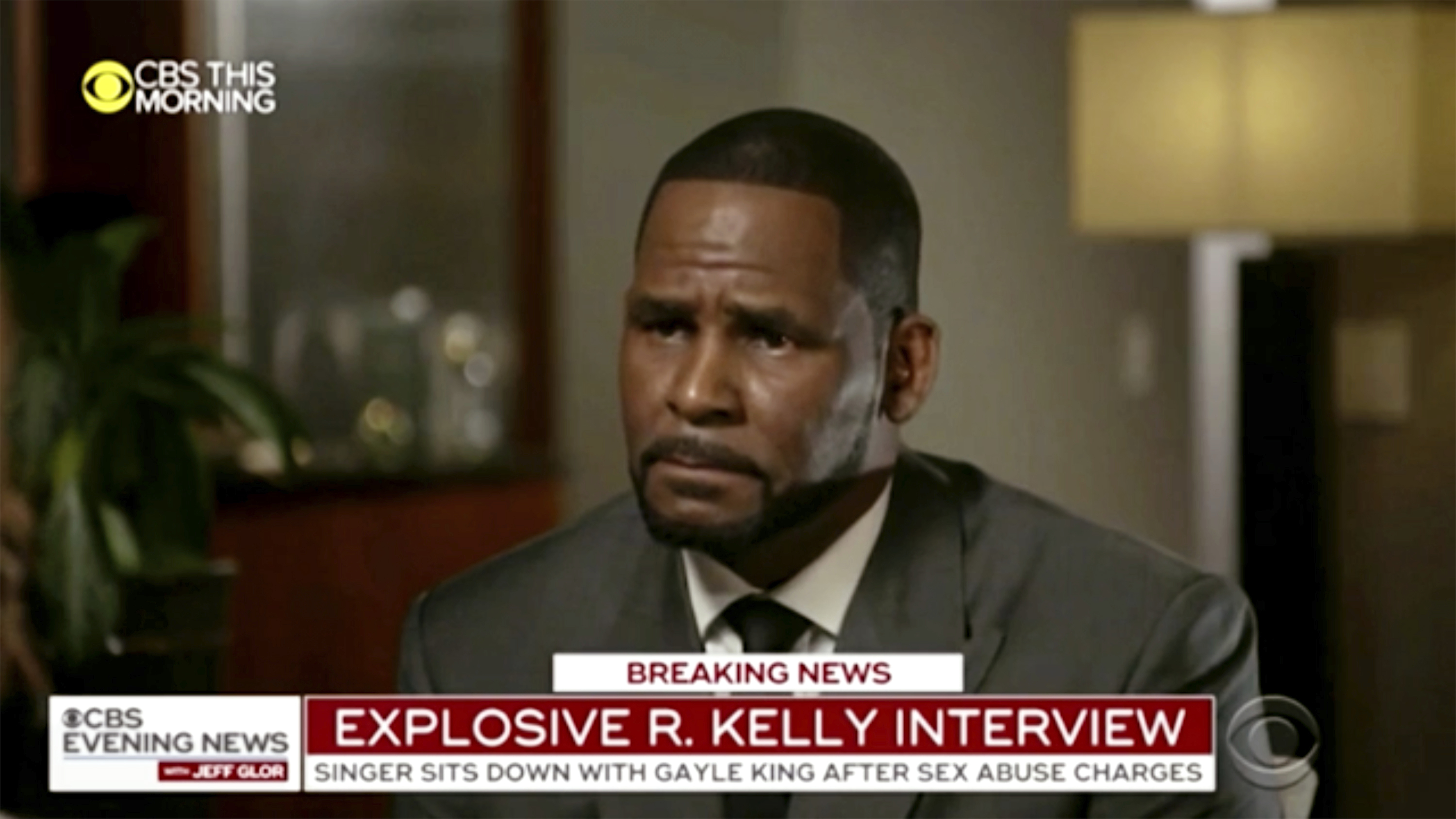 "This image provided by CBS shows R. Kelly being interviewed by Gayle King on ""CBS This Morning"" Wednesday, March 6, 2019 in Chicago. The R&B singer gave his first interview since being charged last month with sexually abusing four females dating back to 1998, including three underage girls. Kelly has pleaded not guilty to 10 counts of aggravated sexual abuse. (CBS via AP)"