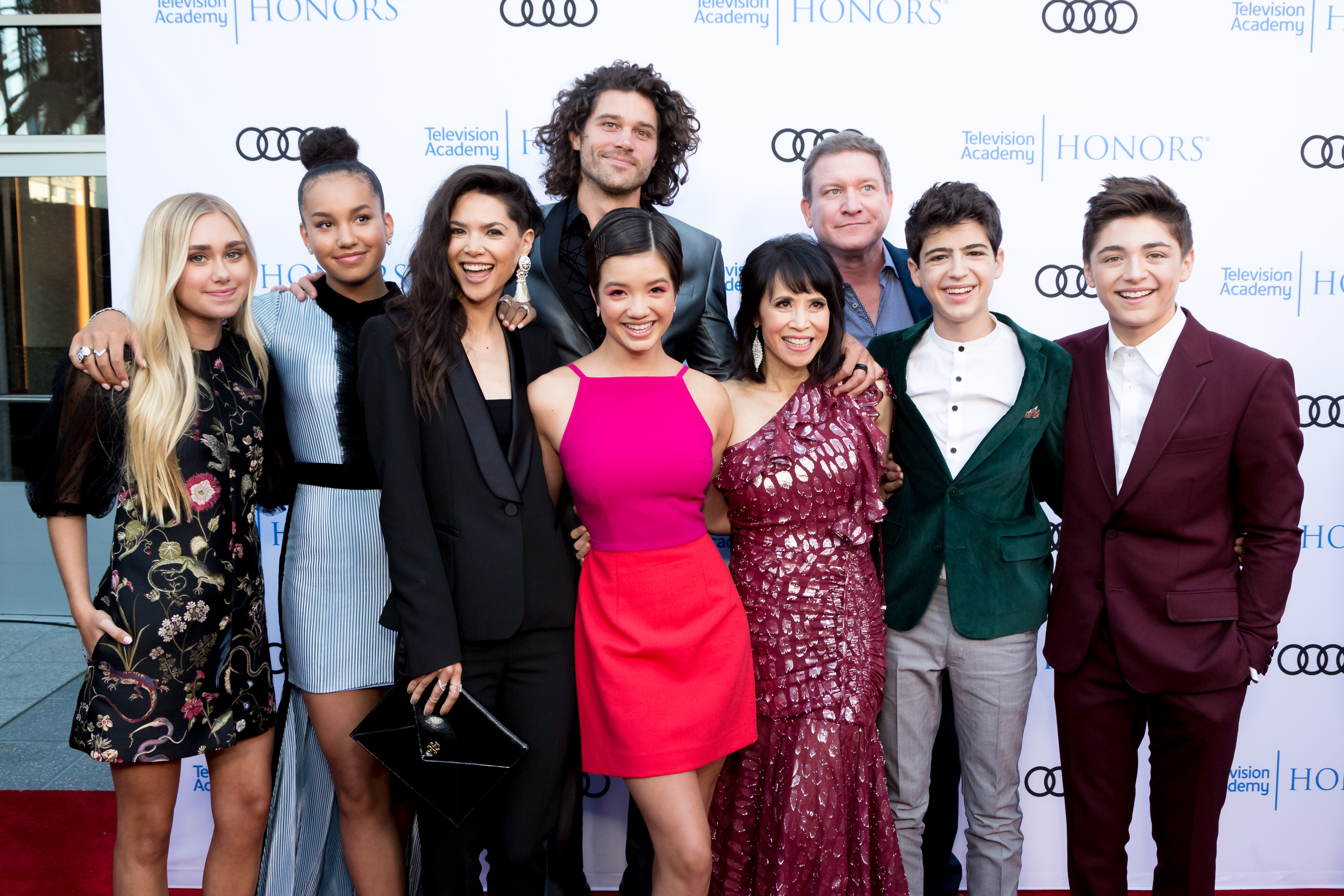 (L-R) Emily Skinner, Sofia Wylie, Lilan Bowden, Guest, Peyton Lee, Lauren Tom, Guest, Joshua Rush and Asher Angel attend the 11th Annual Television Academy Honors at NeueHouse Hollywood on May 31, 2018 in Los Angeles, California.