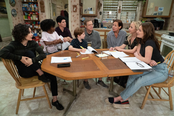 "The cast of ""The Conners"" (left to right:) Sara Gilbert, Jayden Rey, Michael Fishman, Ames McNamara, John Goodman, Laurie Metcalf, Lecy Goranson and Emma Kenney. (Eric McCandless/ABC)"