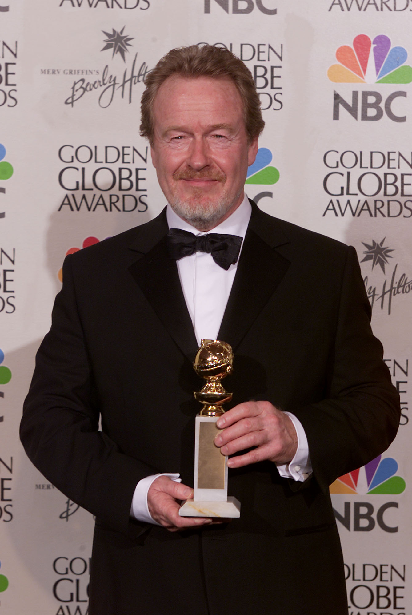 Director Ridley Scott with the award for Best Motion Picture- Drama for 'Gladiator' at the 58th Annual Golden Globe Awards at the Beverly Hilton in Los Angeles, California, on January 21, 2001. (Getty Images)