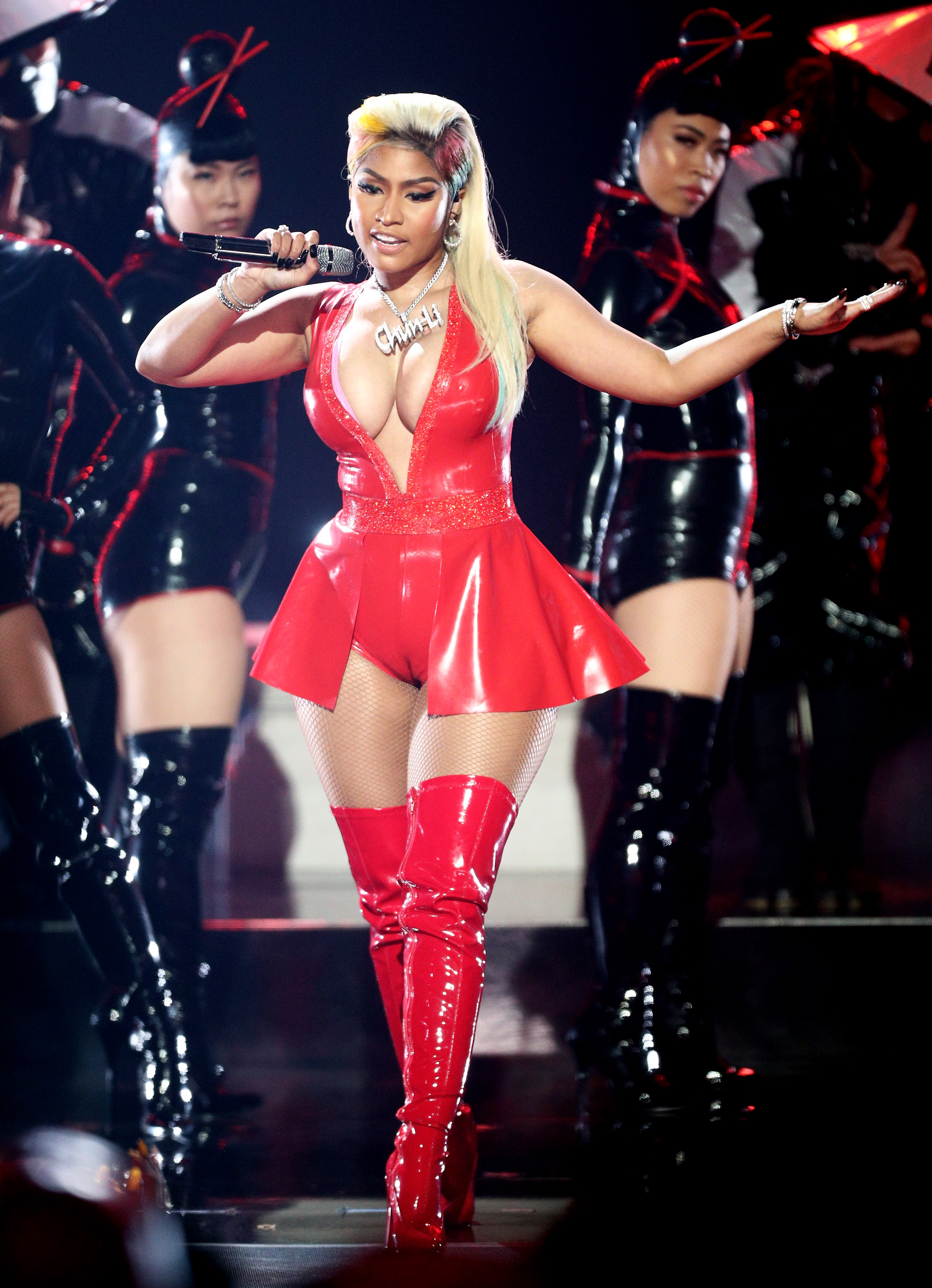 Nicki Minaj performs onstage at the 2018 BET Awards at Microsoft Theater on June 24, 2018, in Los Angeles, California. (Getty Images)