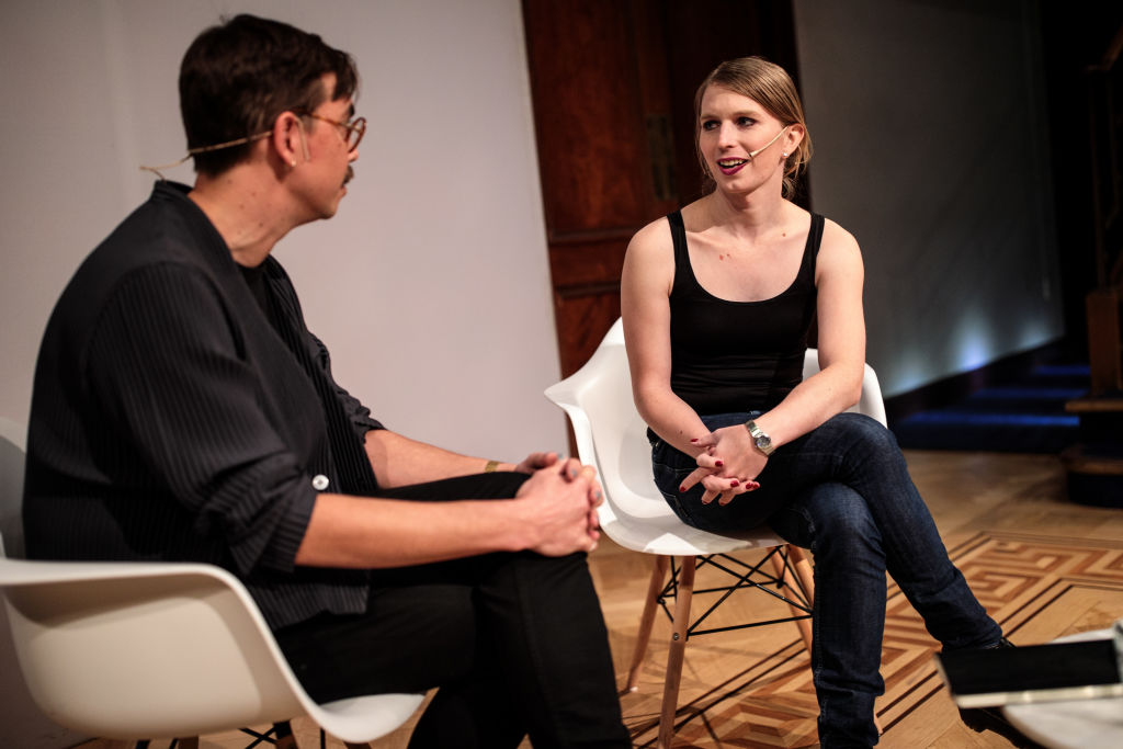 Former American soldier and whistleblower Chelsea Manning (R) speaks with artist and writer James Bridle ahead of an Institute Of Contemporary Arts (ICA) event at the Royal Institution on October 1, 2018, in London, England. (Photo by Jack Taylor/Getty Images)