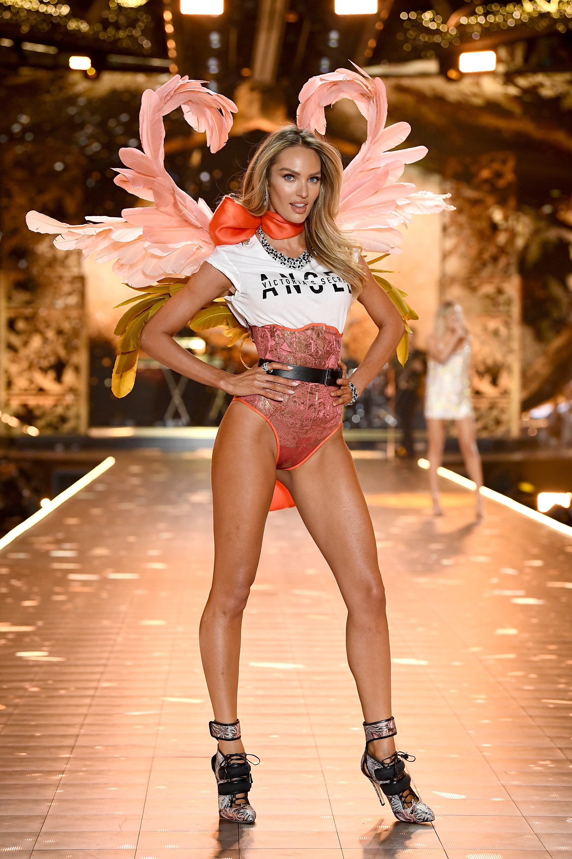 14f3d33afa720 Candice Swanepoel walks the runway during the 2018 Victoria's Secret  Fashion Show at Pier 94 on