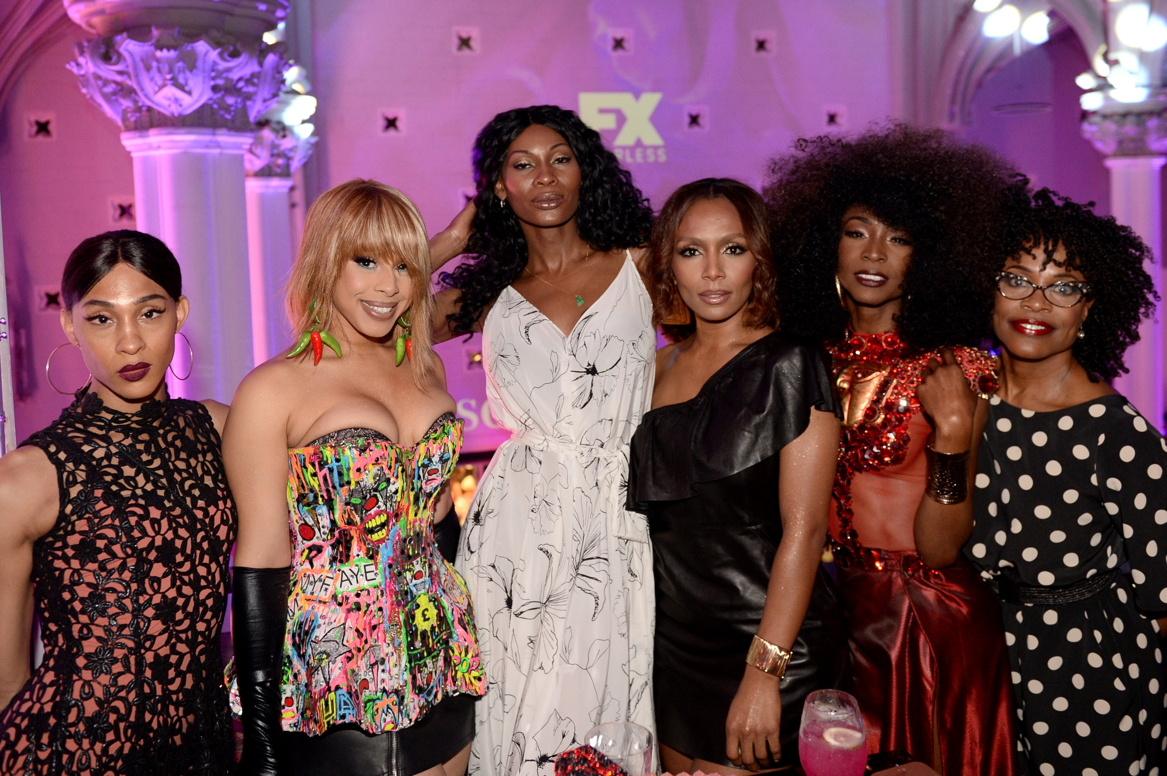 (L-R) MJ Rodriguez, Hailie Sahar, Dominique Jackson, Janet Mock, Angelica Ross, and Charlayne Woodard attend the FX 'Pose' Ball in Harlem on June 2, 2018 in New York City. (Getty Images)