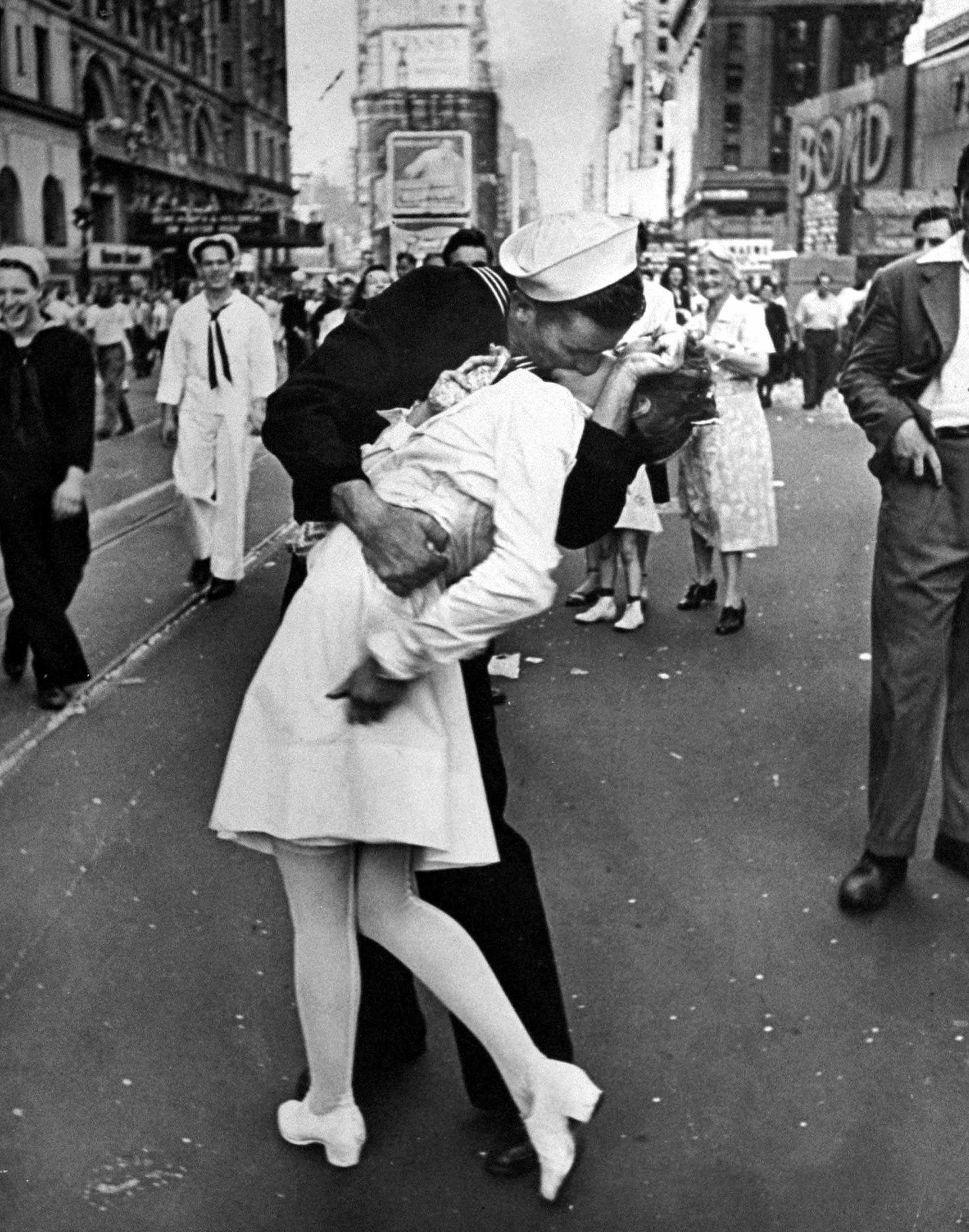 The iconic World War II kiss taken in 1945 in New York to celebrate the US victory over Japan