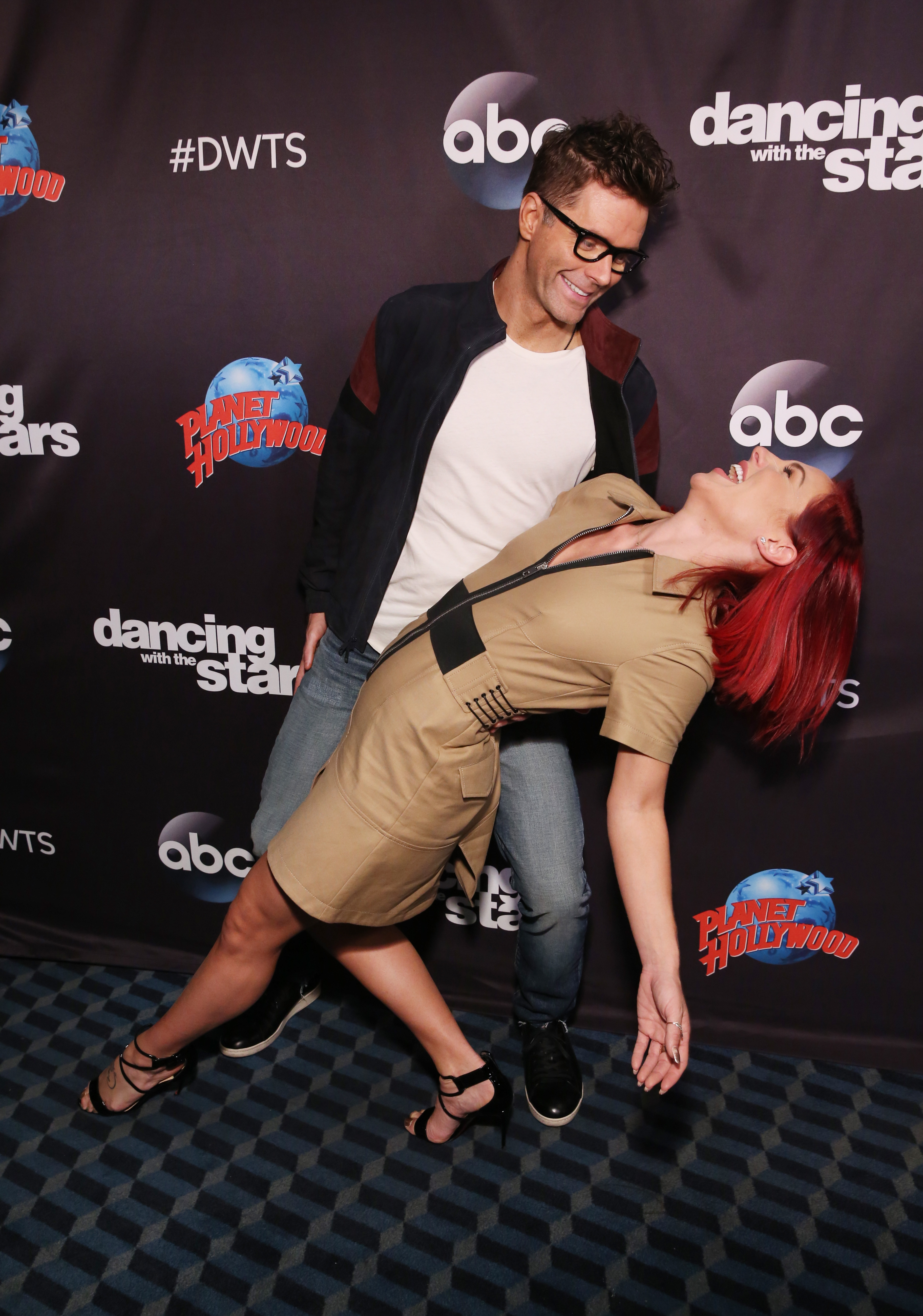 Bobby Bones and Sharna Burgess attend Dancing With The Stars Season 27 Cast Reveal Red Carpet At Planet Hollywood Times Square at Planet Hollywood Times Square on September 12, 2018 in New York City.
