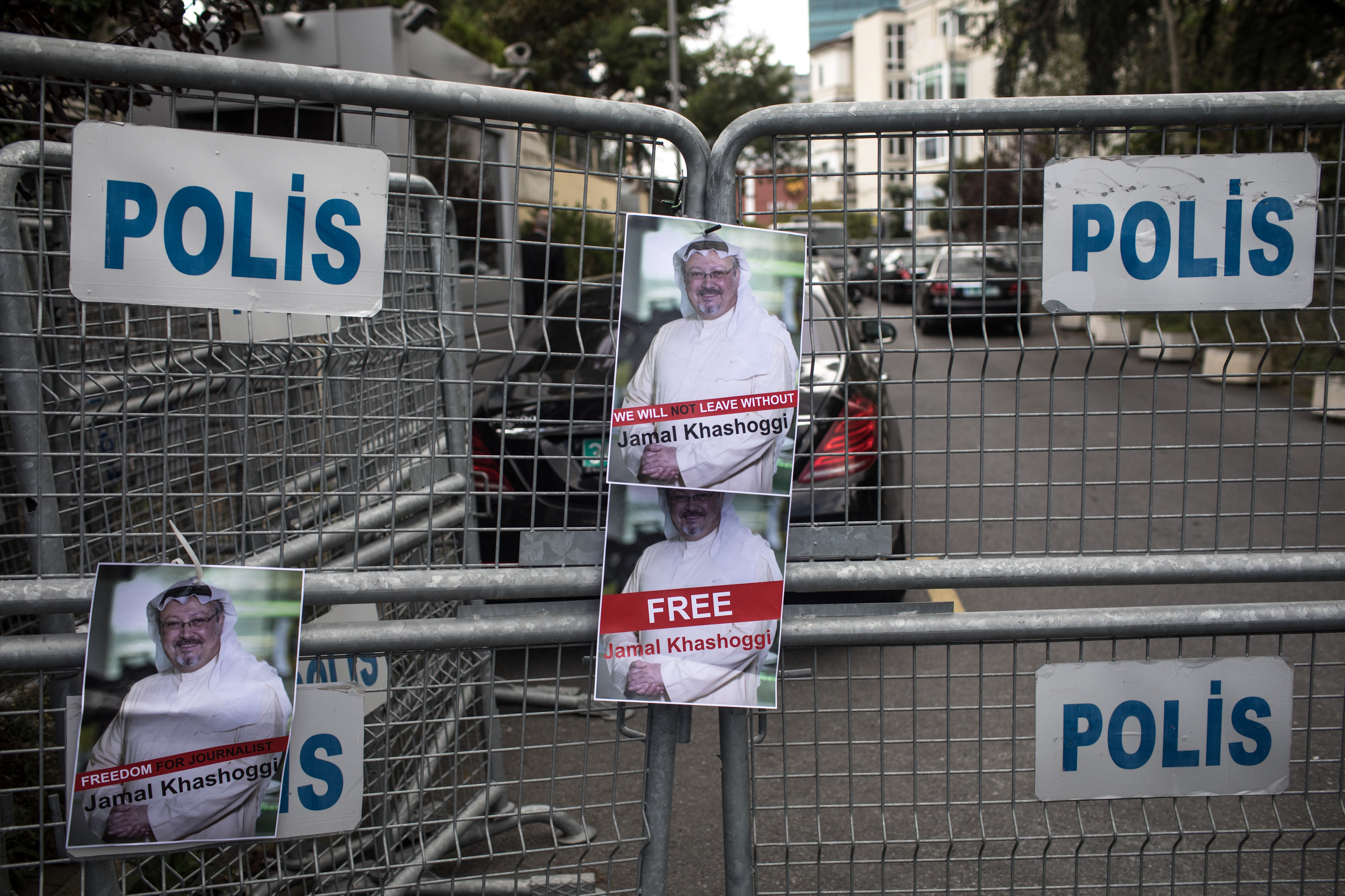 Posters of Saudi journalist Jamal Khashoggi are seen stuck to a police barricade in front of Saudi Arabia's consulate on October 8, 2018 in Istanbul, Turkey. Fears are growing over the fate of missing journalist Jamal Khashoggi after Turkish officials said they believe he was murdered inside the Saudi consulate. Saudi consulate officials have said that missing writer and Saudi critic Jamal Khashoggi went missing after leaving the consulate, however the statement directly contradicts other sources including Turkish officials. Jamal Khashoggi a Saudi writer critical of the Kingdom and a contributor to the Washington Post was living in self-imposed exile in the U.S.