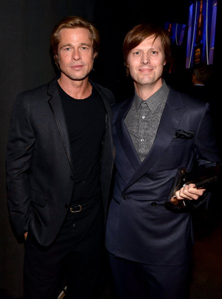 Brad Pitt and Felix Van Groeningen, recipient of the Hollywood Breakthrough Director Award for 'Beautiful Boy,' attend the 22nd Annual Hollywood Film Awards. (Getty Images)