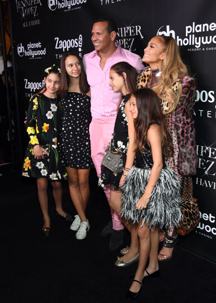Alex Rodriguez and Jennifer Lopez with their family in Las Vegas on September 30 (Getty Images)
