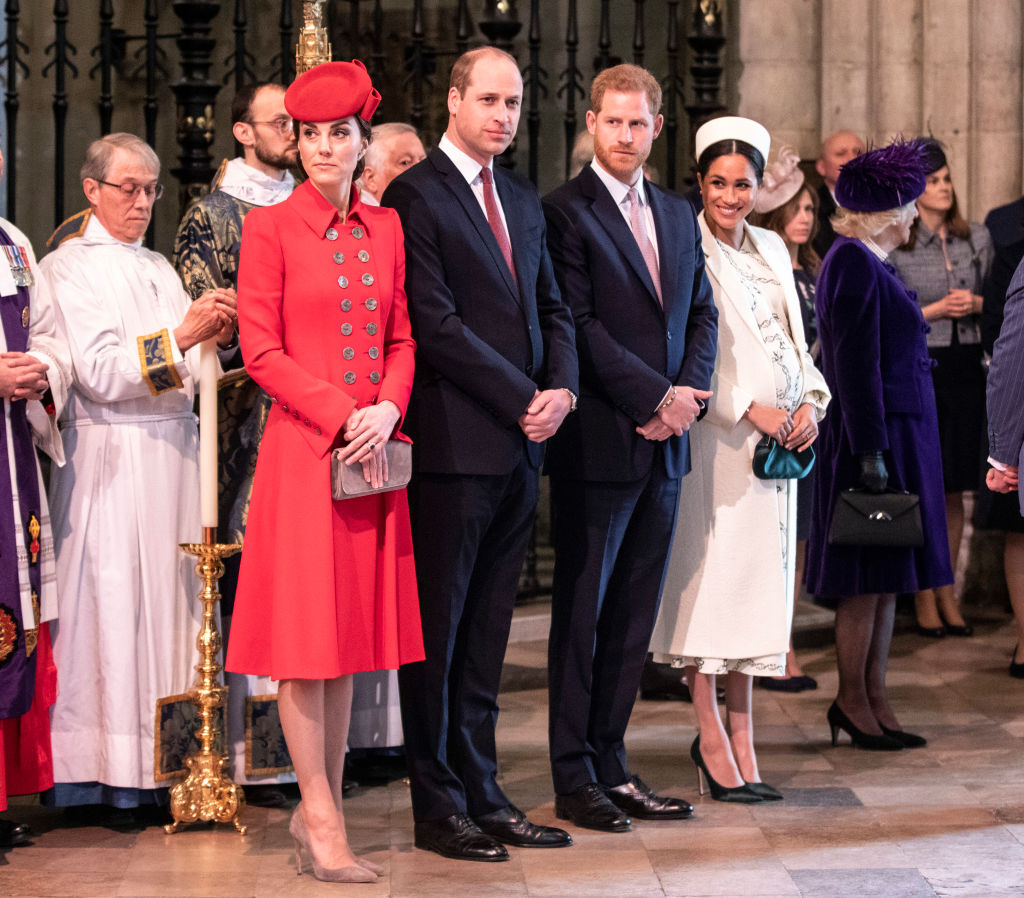 The Duke and Duchess of Cambridge stand with the duke and Meghan, Duchess of Sussex at Westminster Abbey for a Commonwealth day service on March 11, 2019 in London, England. (Photo by Richard Pohle - WPA Pool/Getty Images)