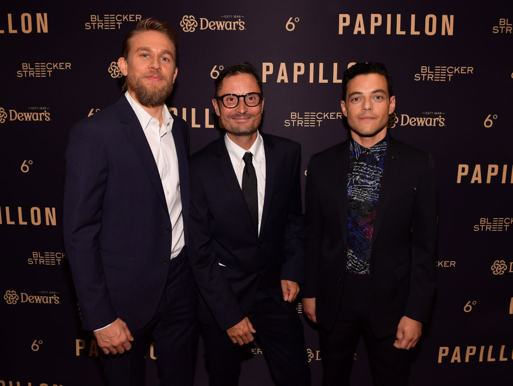 (L-R) Charlie Hunnam, Michael Noer, and Rami Malek attend the premiere of Bleecker Street Media's 'Papillon' at The London West Hollywood on August 19, 2018 in West Hollywood, California. (Photo by Matt Winkelmeyer/Getty Images)