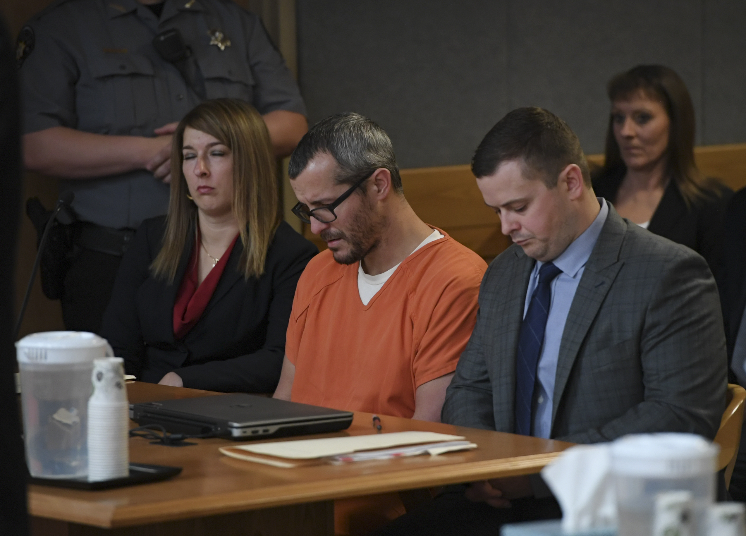 Christopher Watts sits in court for his sentencing hearing at the Weld County Courthouse on November 19, 2018, in Greeley, Colorado (Source: RJ Sangosti/The Denver Post via Getty Images)