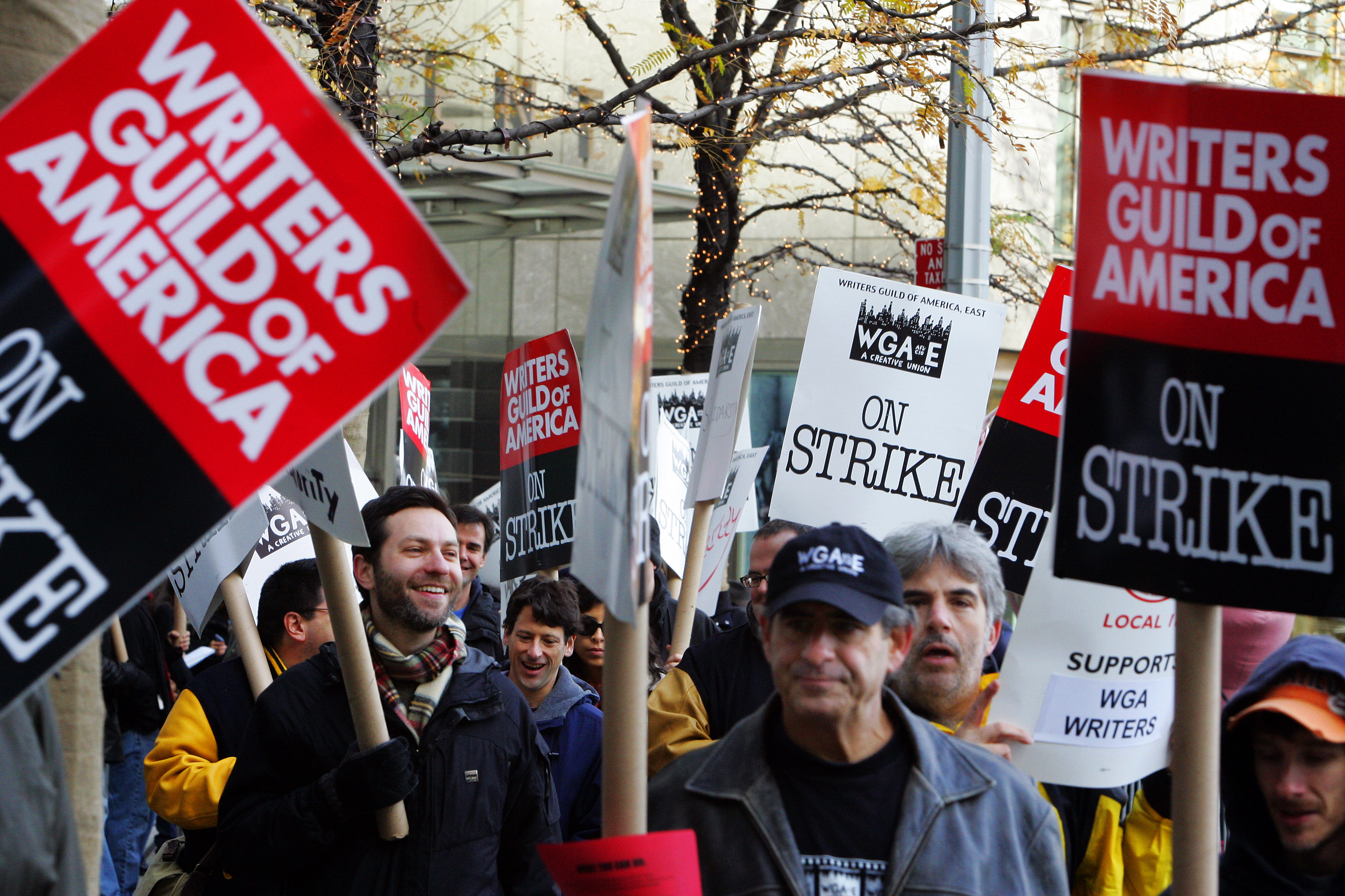 The Writers Guild of America strike continues into its fourth week as union members picket in front of the Time Warner building November 28, 2007 in New York City. Producers failed to reach an agreement with the striking writers after contract talks on Tuesday.
