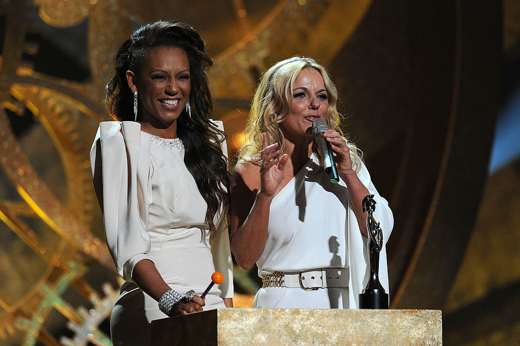 Mel B and Geri Halliwell accept the Spice Girls award for 'Brits Performance of 30 Years' on stage at The Brit Awards 2010 at Earls Court on February 16, 2010, in London, England. (Photo by Gareth Cattermole/Getty Images)