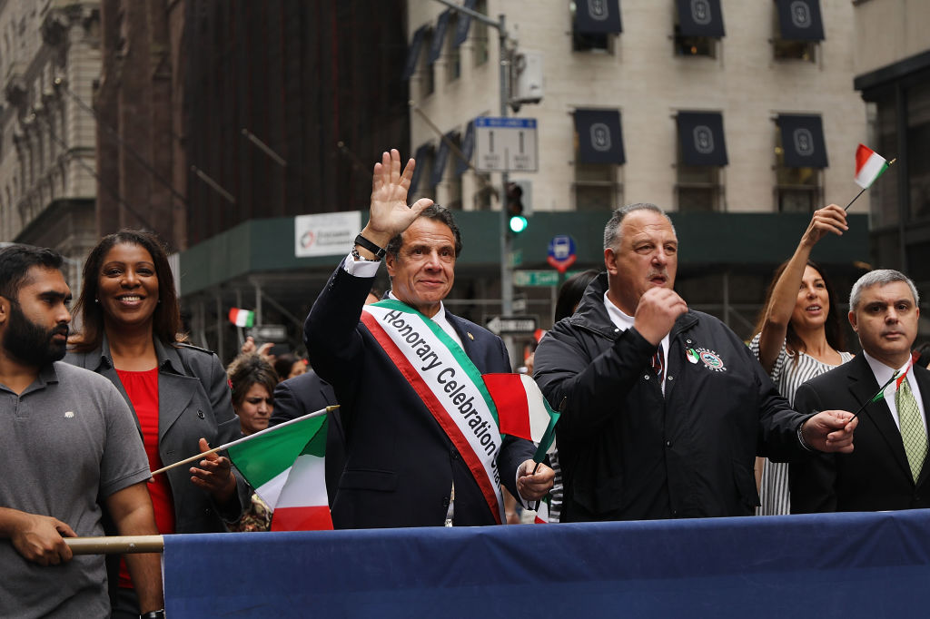 Cuomo spoke to reporters at the Columbia Day Parade (Getty Images)