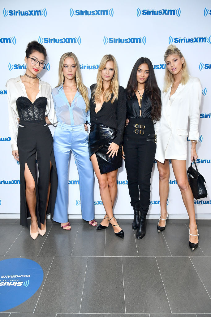 (L-R) Models Ping Hue, Hannah Ferguson, Nadine Leopold, Shanina Shaik and Devon Windsor from TV show 'The Model Squad' visit SiriusXM Studios on August 22, 2018 in New York City. (Photo by Michael Loccisano/Getty Images)