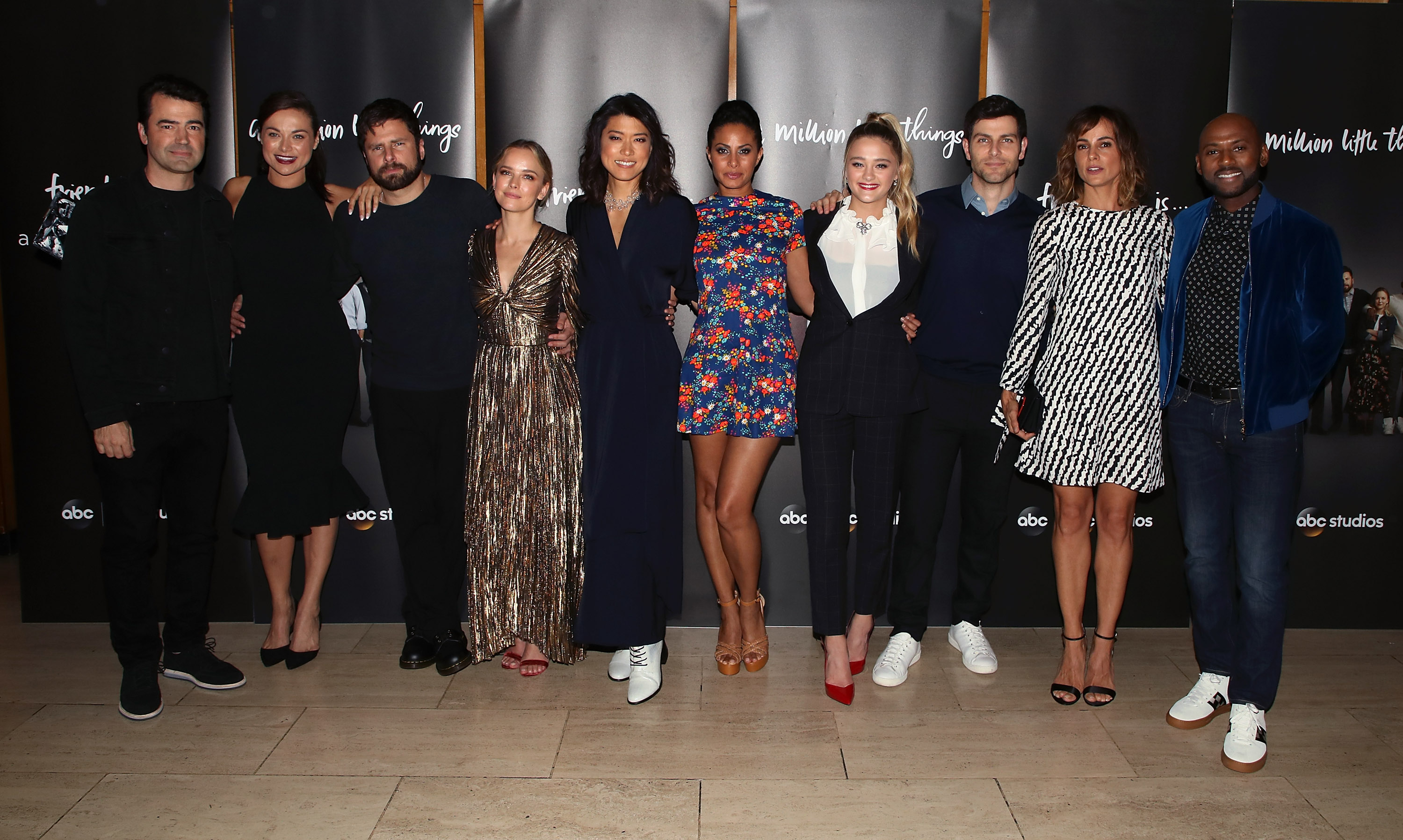 (L-R) Ron Livingston, Christina Ochoa, James Roday, Allison Miller, Grace Park, Christina Marie Moses, Lizzy Greene, David Giuntoli, Stephanie Szostak and Romany Malco attend the premiere of ABC's 'A Million Little Things' at LACMA on September 22, 2018 in Los Angeles, California.