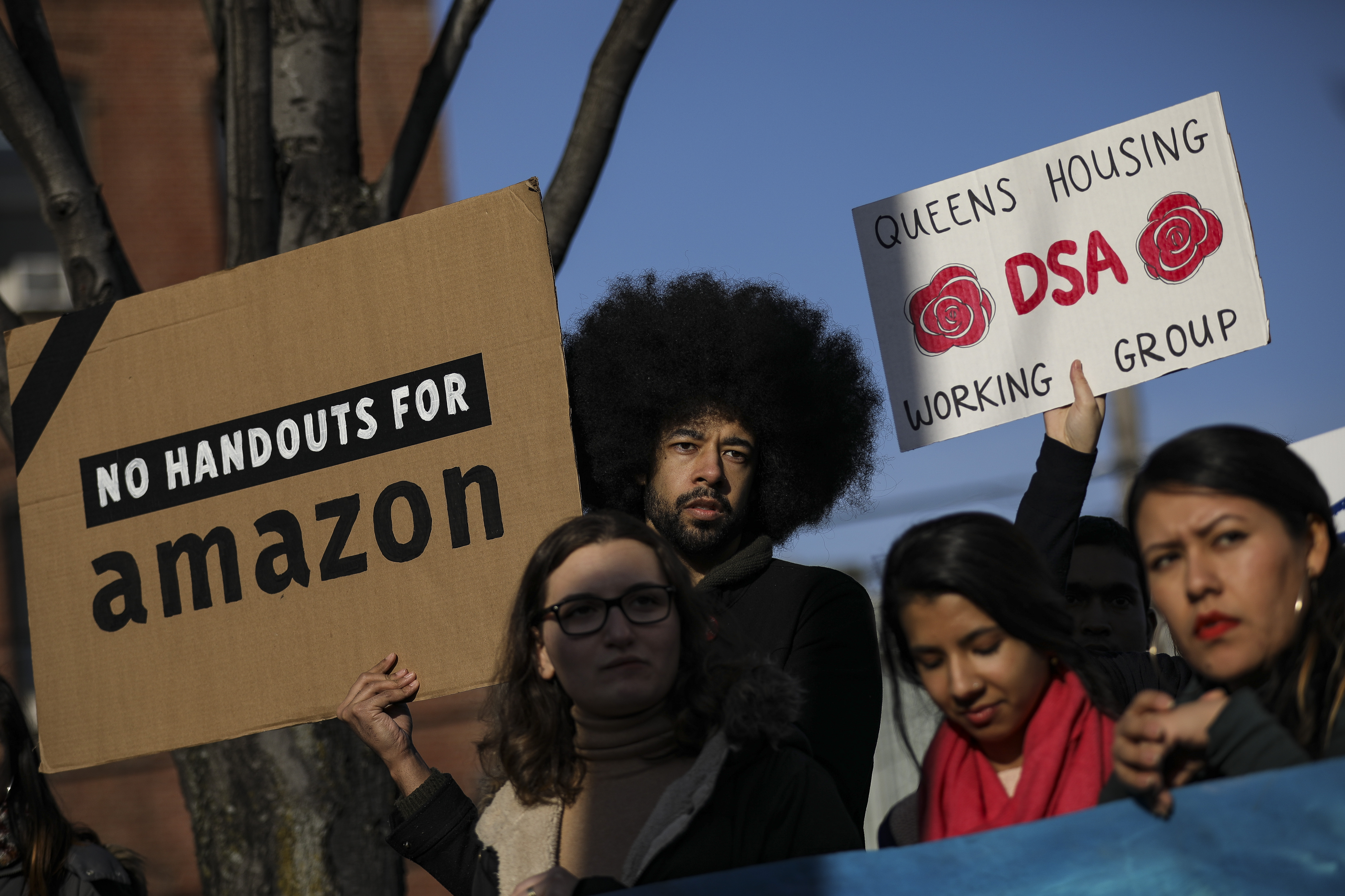 Activists and community members who opposed Amazon's plan to move into Queens rally in celebration of Amazon's decision to pull out of the deal, in the Long Island City neighborhood, February 14, 2019 in the Queens borough of New York City. (Getty Images)