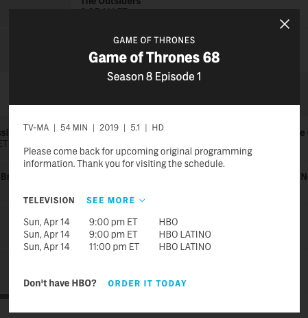 HBO has updated its schedule for the show. (HBO)