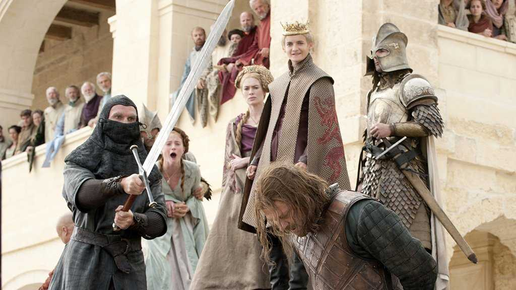 Ned Stark losing his head for his honor and values in HBO's 'Game of Thrones'. (Source: IMDB)