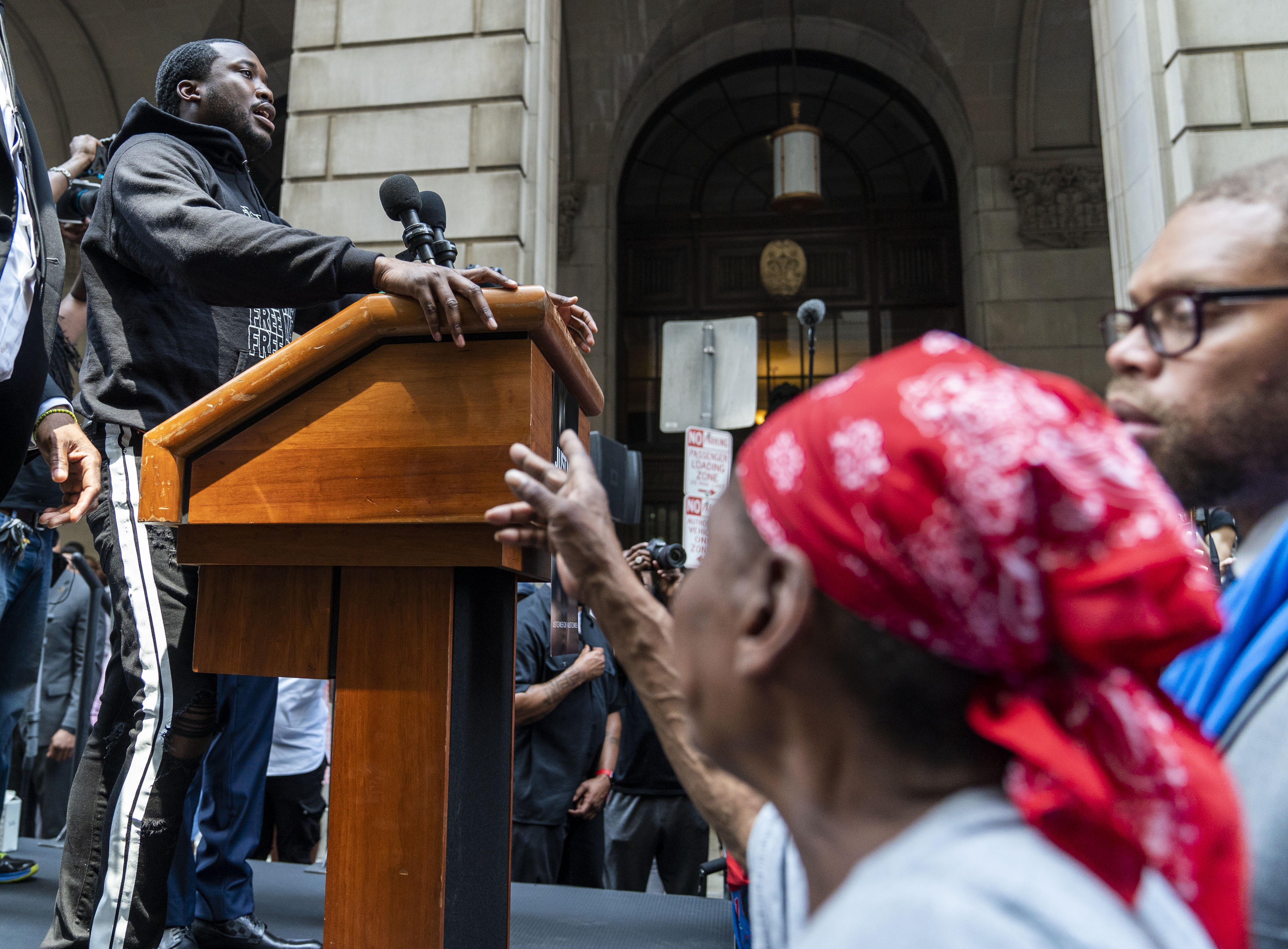 Rapper Meek Mill participates in a rally before he returns to court for a post-conviction appeal on June 18, 2018 in Philadelphia, Pennsylvania. Organizers of the 'Stand With Meek Mill' rally are calling for the judge to grant the rapper a new trial over a 2007 drug and guns case., which his lawyers have repeatedly asked for and which the District Attorney's Office does not oppose.