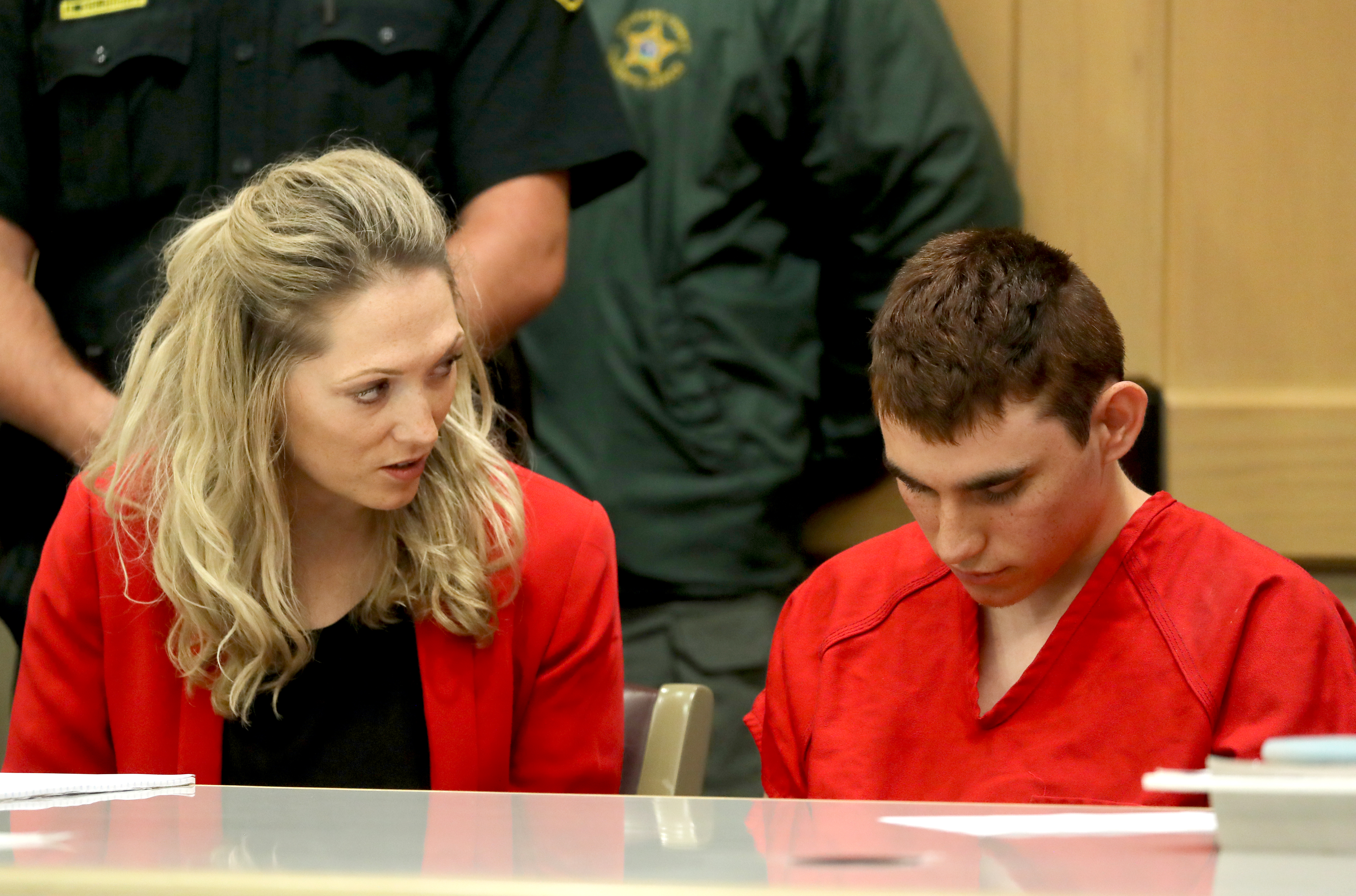 Nikolas Cruz appears in court for a status hearing before Broward Circuit Judge Elizabeth Scherer on February 19, 2018 in Ft. Lauderdale, Florida. Cruz is facing 17 charges of premeditated murder in the mass shooting at Marjory Stoneman Douglas High School in Parkland, Florida. (Getty Images)