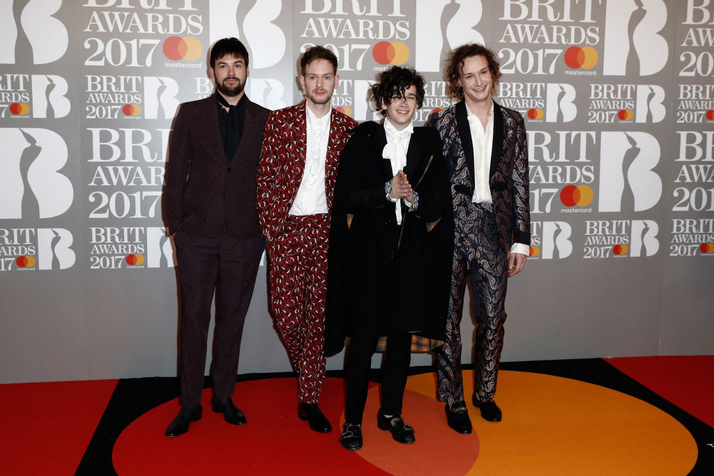 The 1975 at the 2017 Brits Award, where they received the Best British band title. (Getty Images)