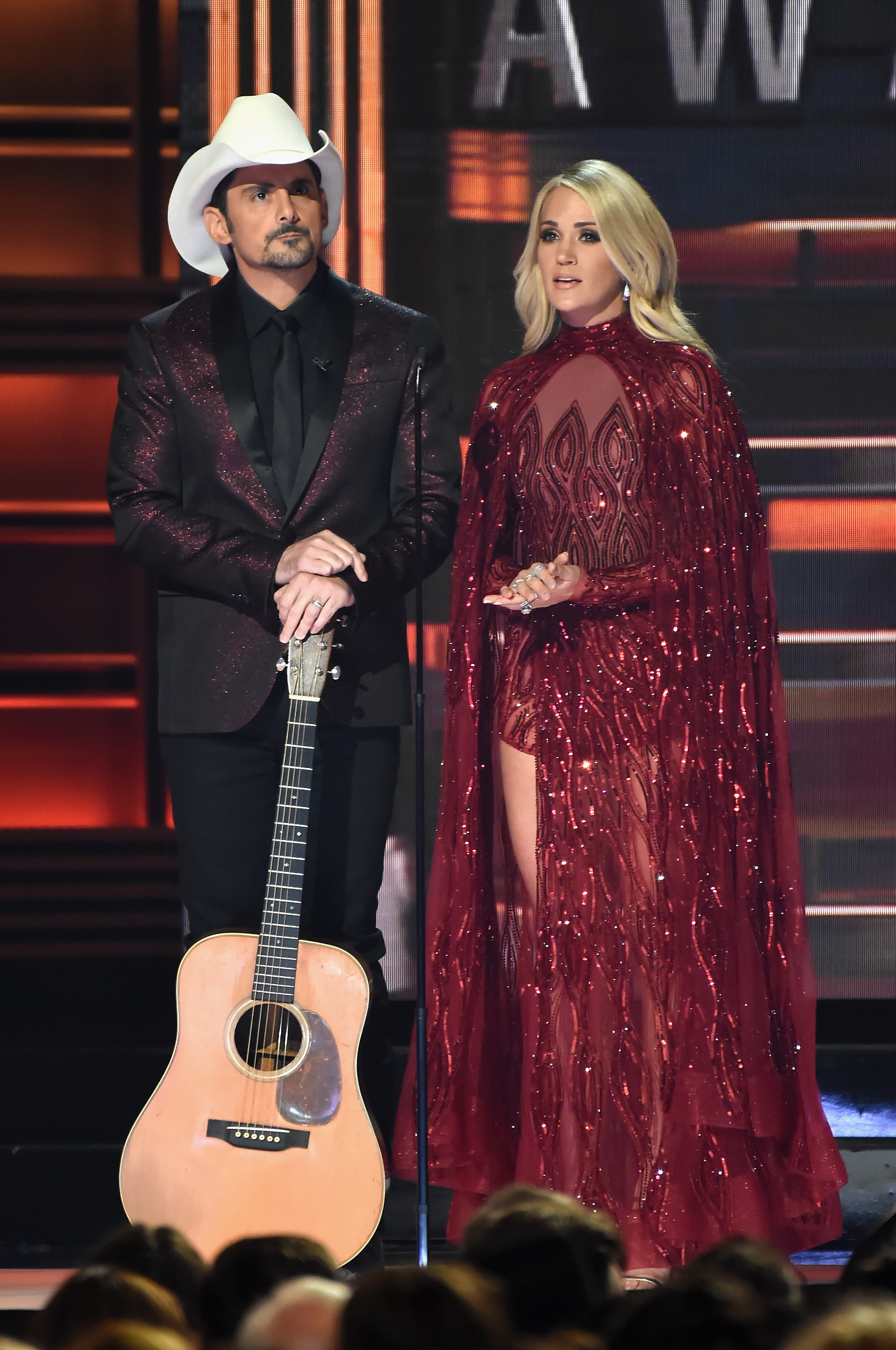 Co-hosts Brad Paisley and Carrie Underwood speak onstage at the 51st annual CMA Awards at the Bridgestone Arena on November 8, 2017 in Nashville, Tennessee.