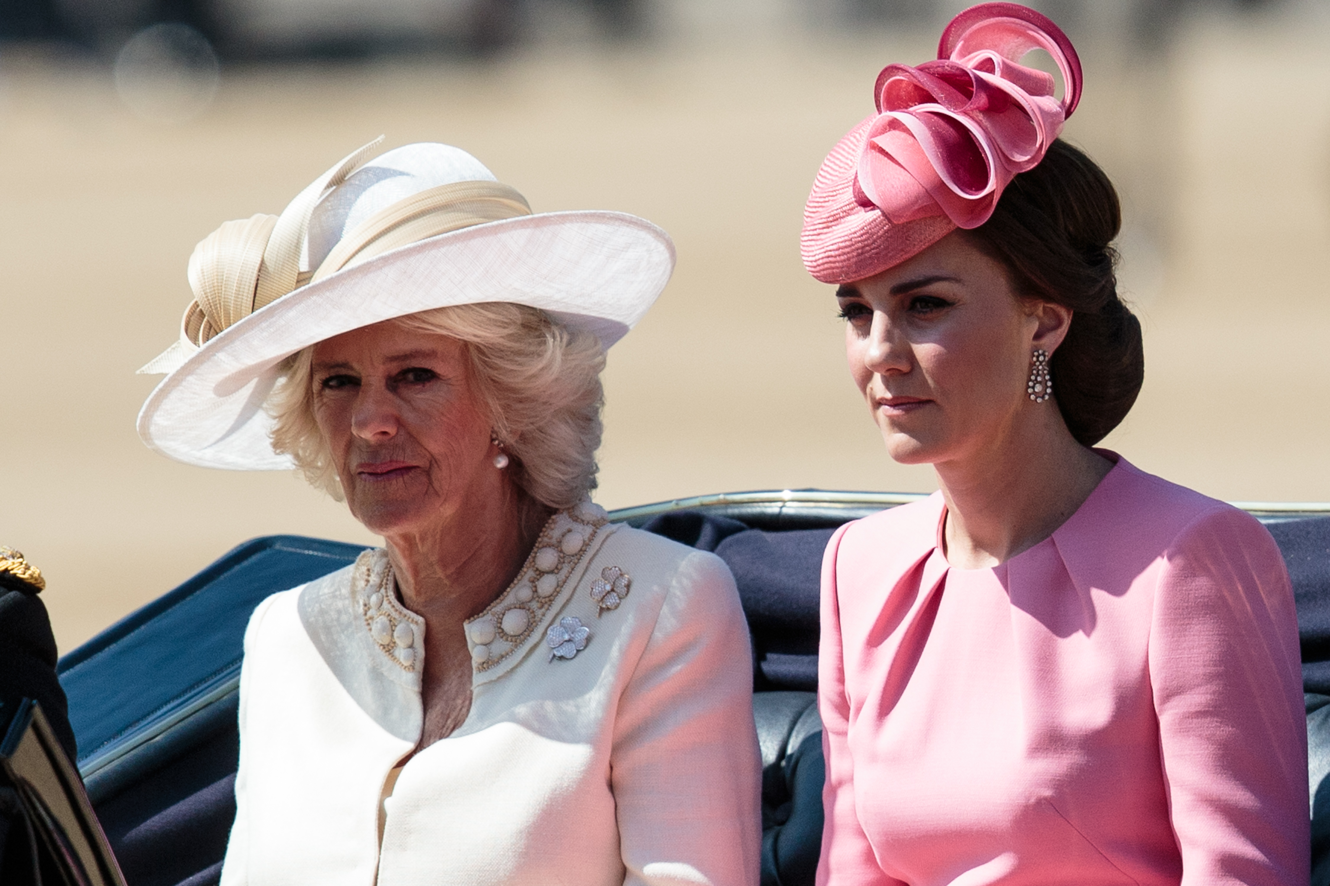 Camilla, Duchess of Cornwall (L) and the Catherine, Duchess of Cambridge (R) arrive at Horse Guards Parade for the annual Trooping The Colour parade on June 17, 2017 in London, England. The annual ceremony is Queen Elizabeth II's birthday parade and dates back to the 17th Century when the Colours of a regiment were used as a rallying point in battle.