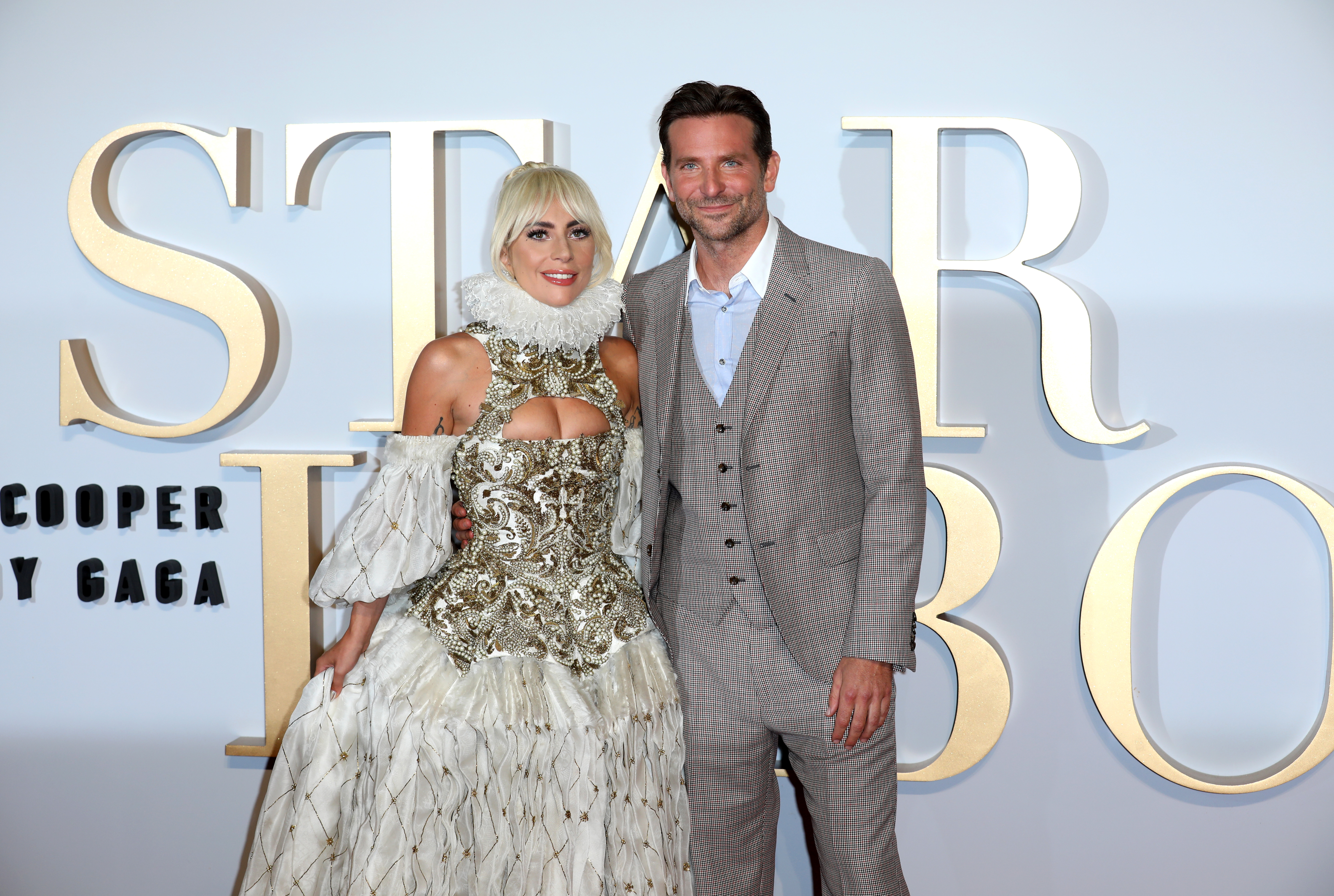 Lady Gaga and Bradley Cooper attend the UK premiere of 'A Star Is Born' held at Vue West End on September 27, 2018 in London, England. (Photo by Tim P. Whitby/Getty Images)