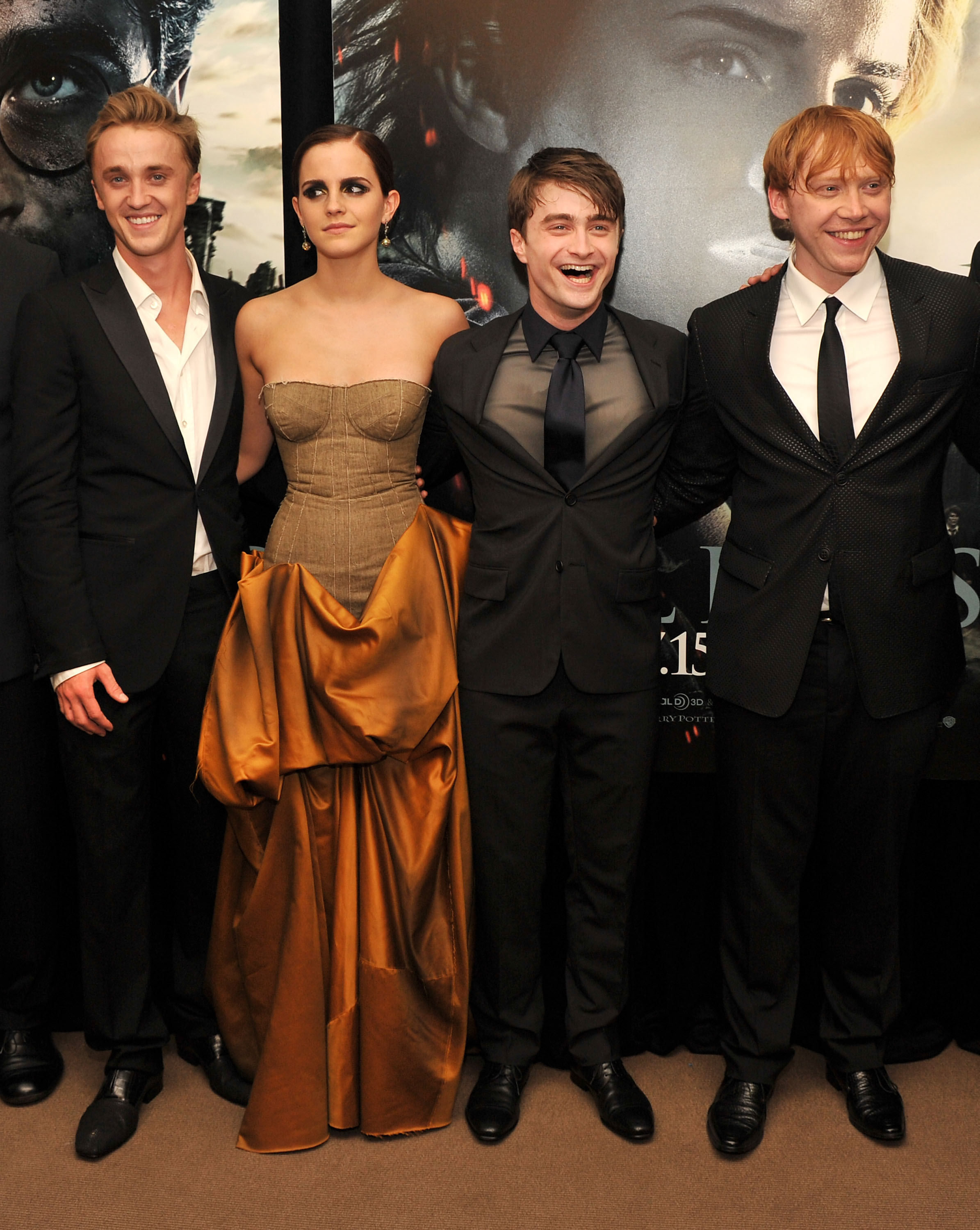 (L-R) Tom Felton, Emma Watson, Daniel Radcliffe and Rupert Grint attend the New York premiere of 'Harry Potter And The Deathly Hallows: Part 2' at Avery Fisher Hall, Lincoln Center on July 11, 2011 in New York City.