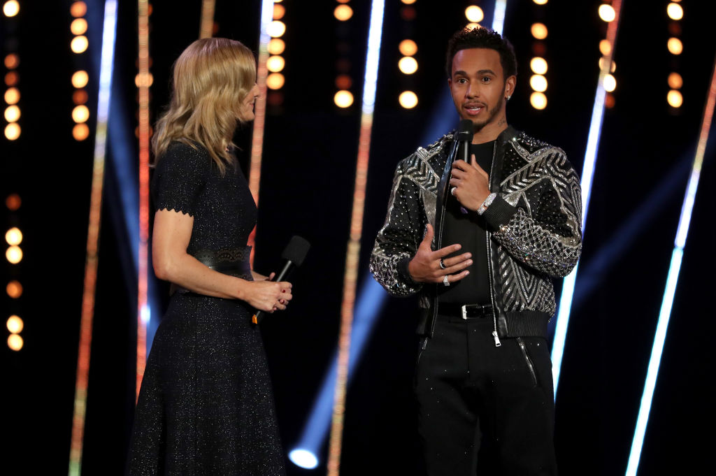 Lewis Hamilton is interviewed on stage during the BBC Sports Personality of the Year 2018 at Birmingham Genting Arena (Getty Images)