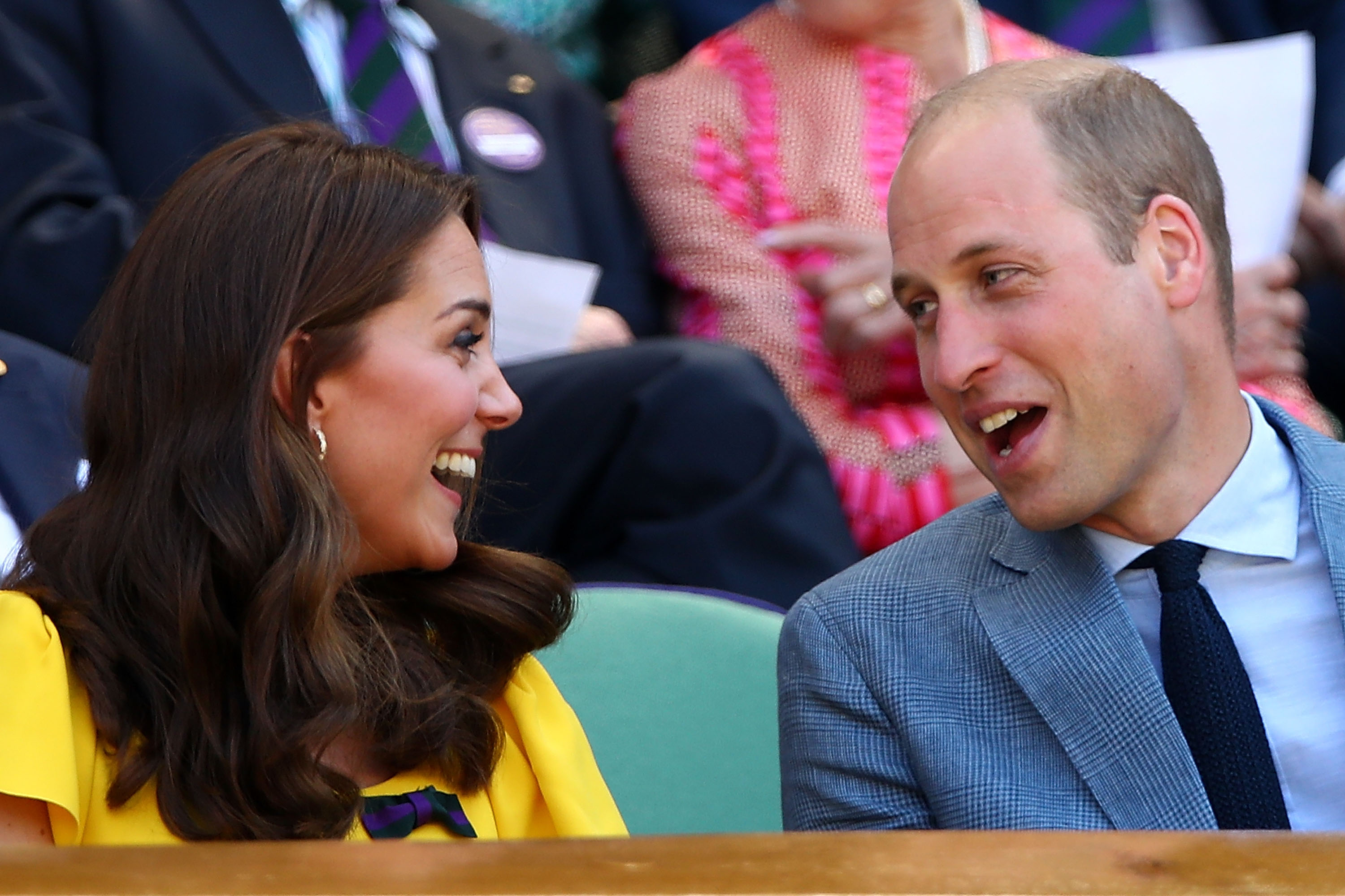 Catherine, Duchess of Cambridge, and Prince William, Duke of Cambridge, attend the Men's Singles final on day thirteen of the Wimbledon Lawn Tennis Championships at All England Lawn Tennis and Croquet Club on July 15, 2018, in London, England. (Getty Images)