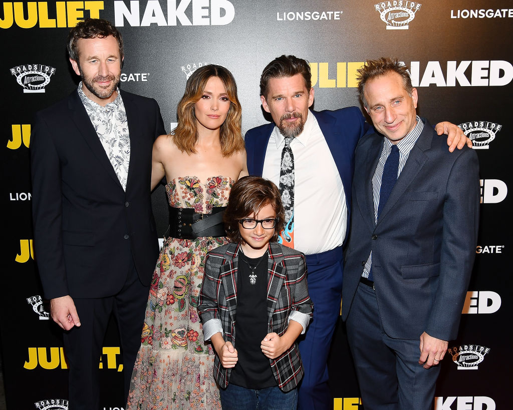 (L-R) Actors Chris O'Dowd, Rose Byrne, Azhy Robertson, Ethan Hawke and director Jesse Peretz attend the 'Juliet, Naked' New York Premiere at Metrograph on August 14, 2018 in New York City. (Photo by Nicholas Hunt/Getty Images)