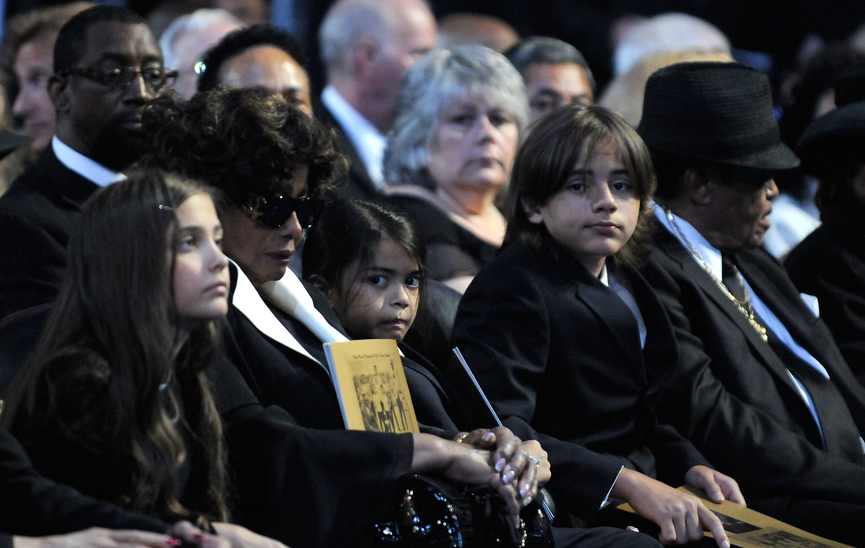 Paris Jackson, Katherine Jackson, Prince Michael Jackson II, Prince Michael Jackson, Joe Jackson attend Michael Jackson's Public Memorial Service held at Staples Center on July 7, 2009 in Los Angeles, California. (Photo by Harrison Funk/MJ Memorial via Getty Images)