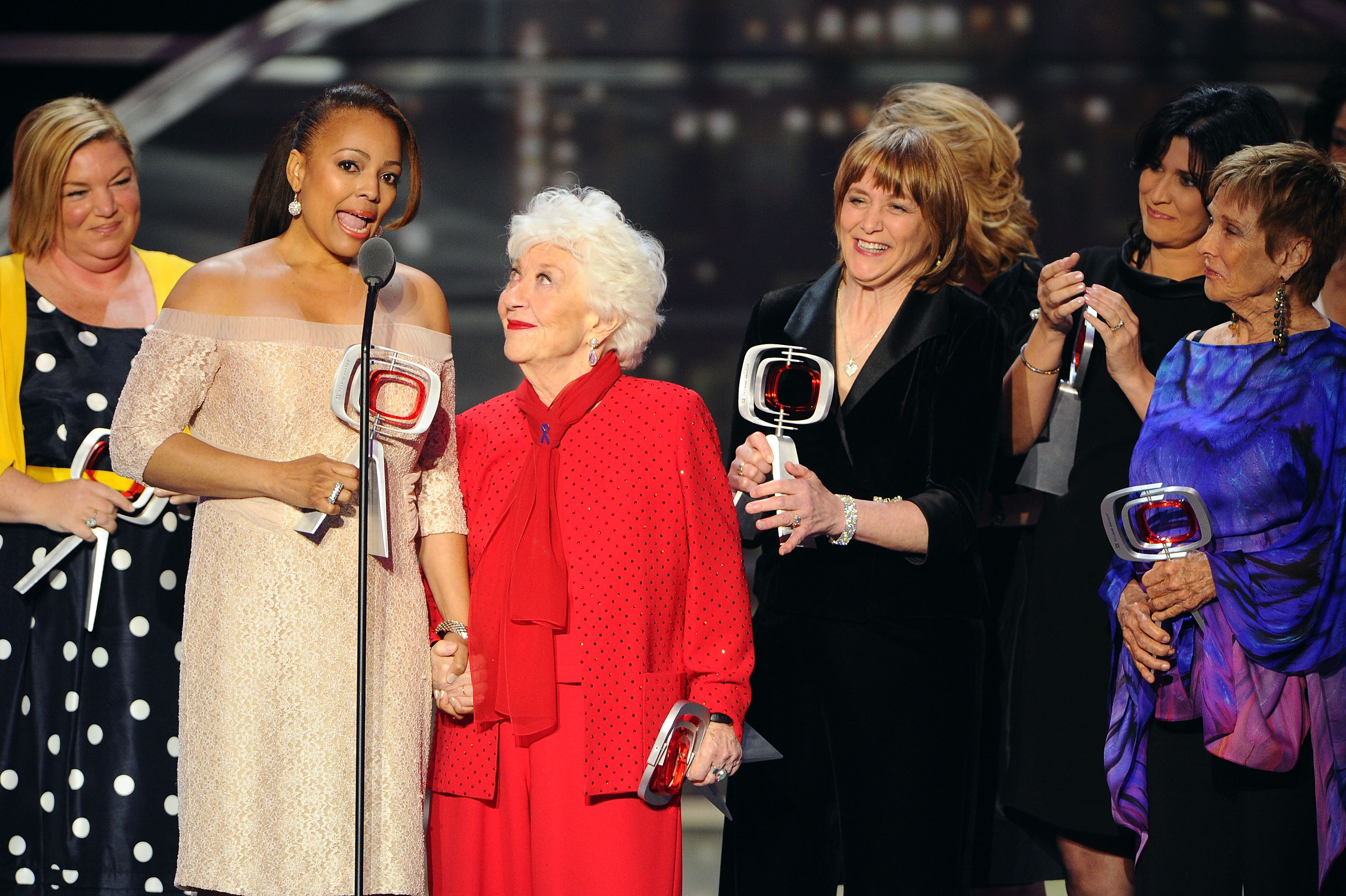 The cast of 'The Facts Of Life' (L-R) Mindy Cohn, Kim Fields, Charlotte Rae, Geri Jewell, Lisa Whelchel, Nancy McKeon, and Cloris Leachman accept the Pop Culture Award onstage at the 9th Annual TV Land Awards at the Javits Center on April 10, 2011 in New York City.
