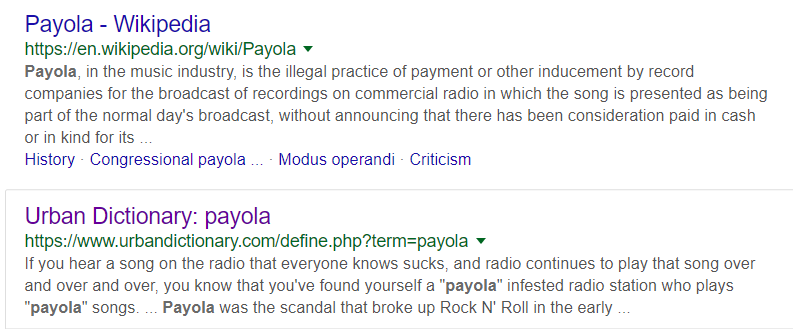Meaning of Payola