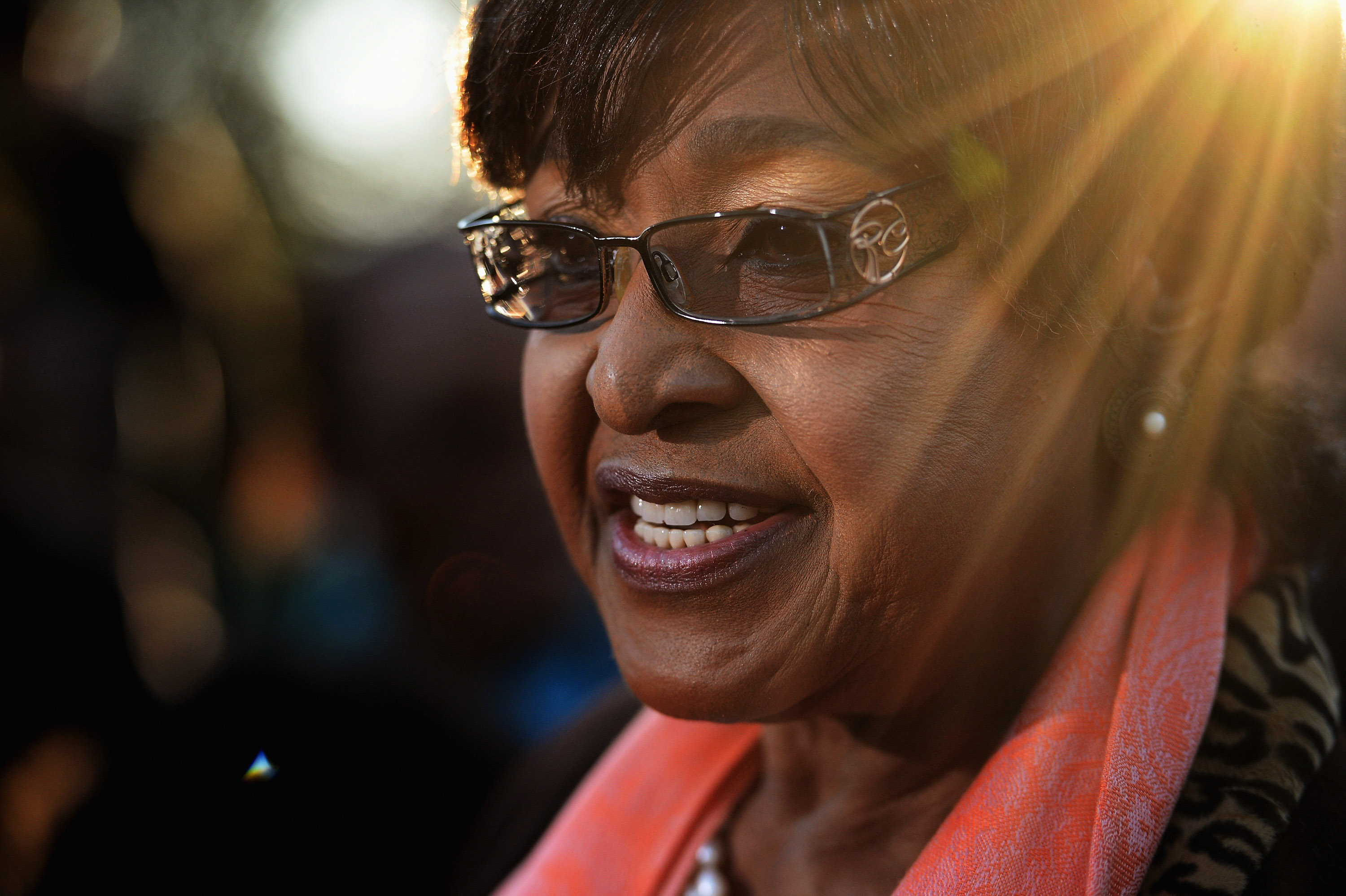 Winnie Madikizela Mandela former wife of Nelson Mandela makes a statement to the media outside their first family home in the Soweto Township on June 28, 2013 in Johannesburg, South Africa. People continue to gather and lay flowers and tributes outside the Mediclinic Heart Hospital where Mandela is being treated for a lung infection on his 21st day in hospital..